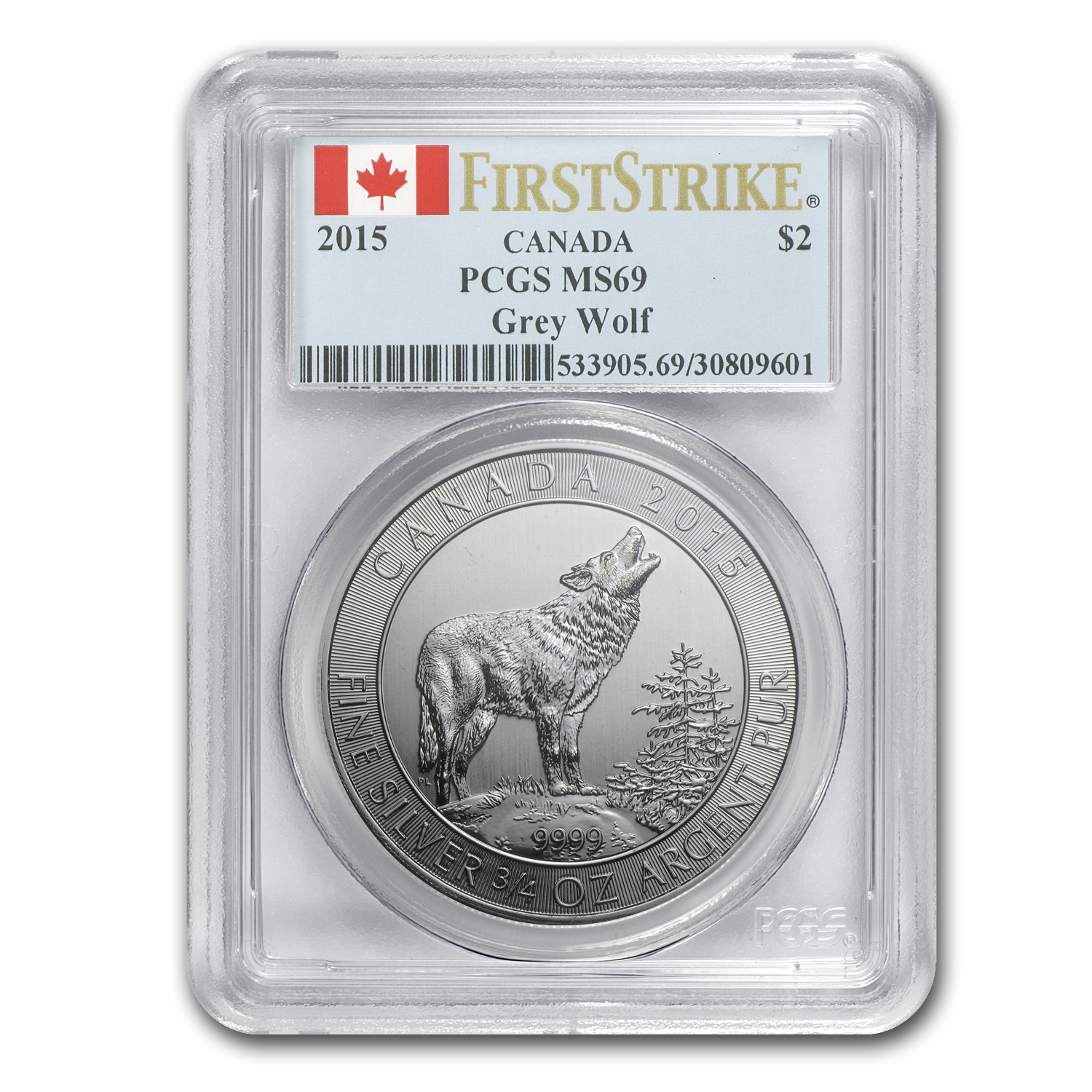 2015 Canada 3/4 oz Silver Grey Wolf MS-69 PCGS (First Strikes)