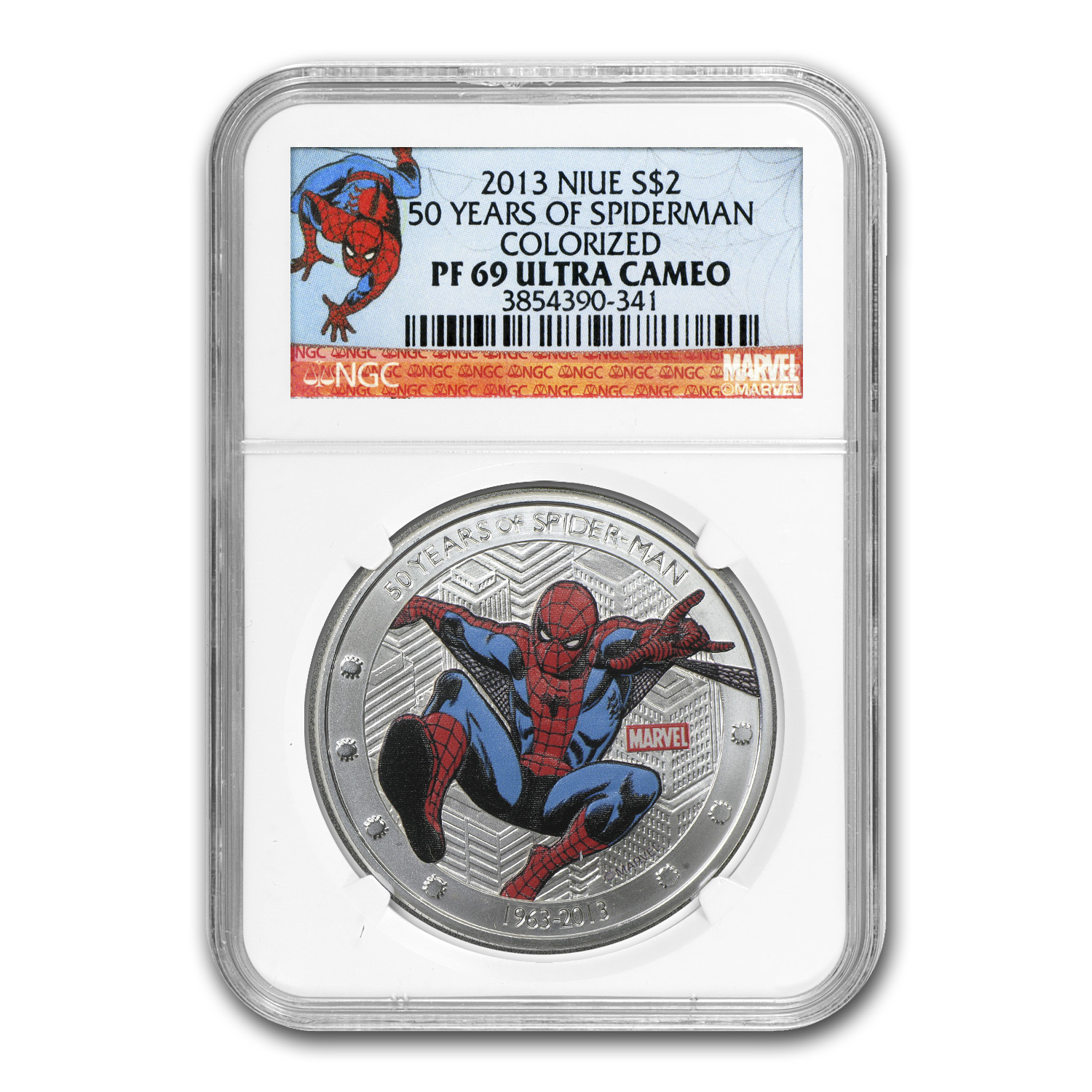 Niue 2013 1 oz Silver 50 Years of Spider-Man PF-69 NGC