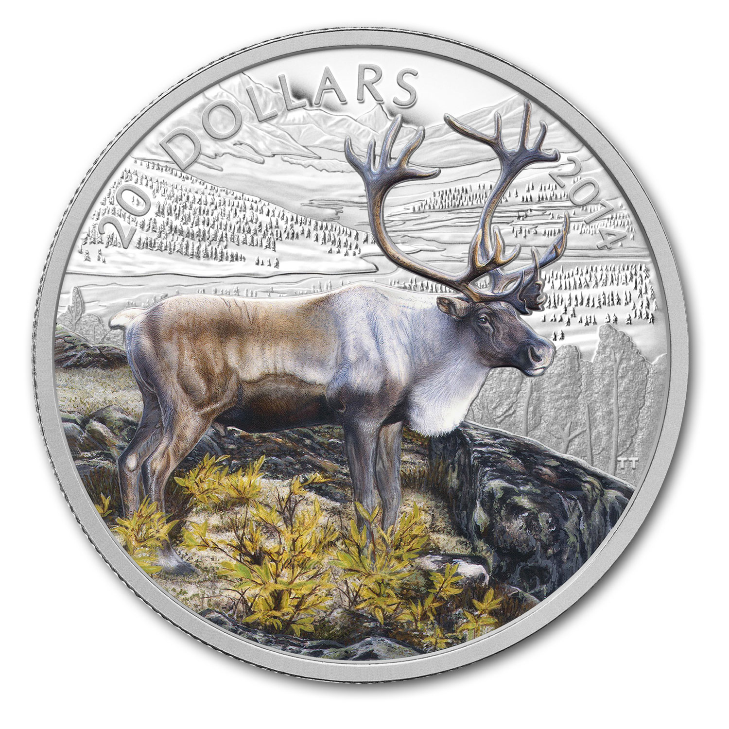 2014 1 oz Silver Canadian $20 The Caribou (Reindeer)