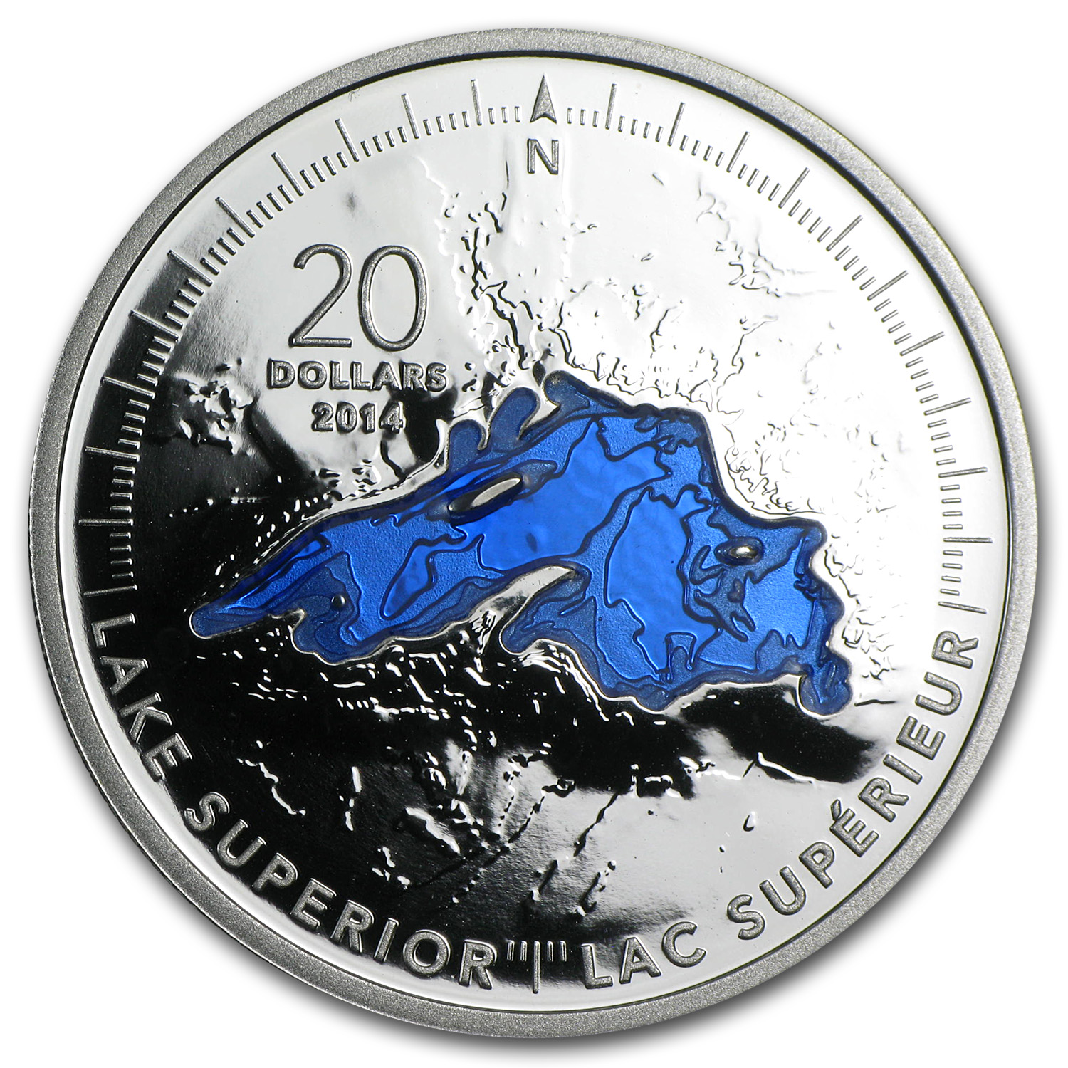 2014 1 oz Silver Canadian $20 The Great Lakes (Lake Superior)
