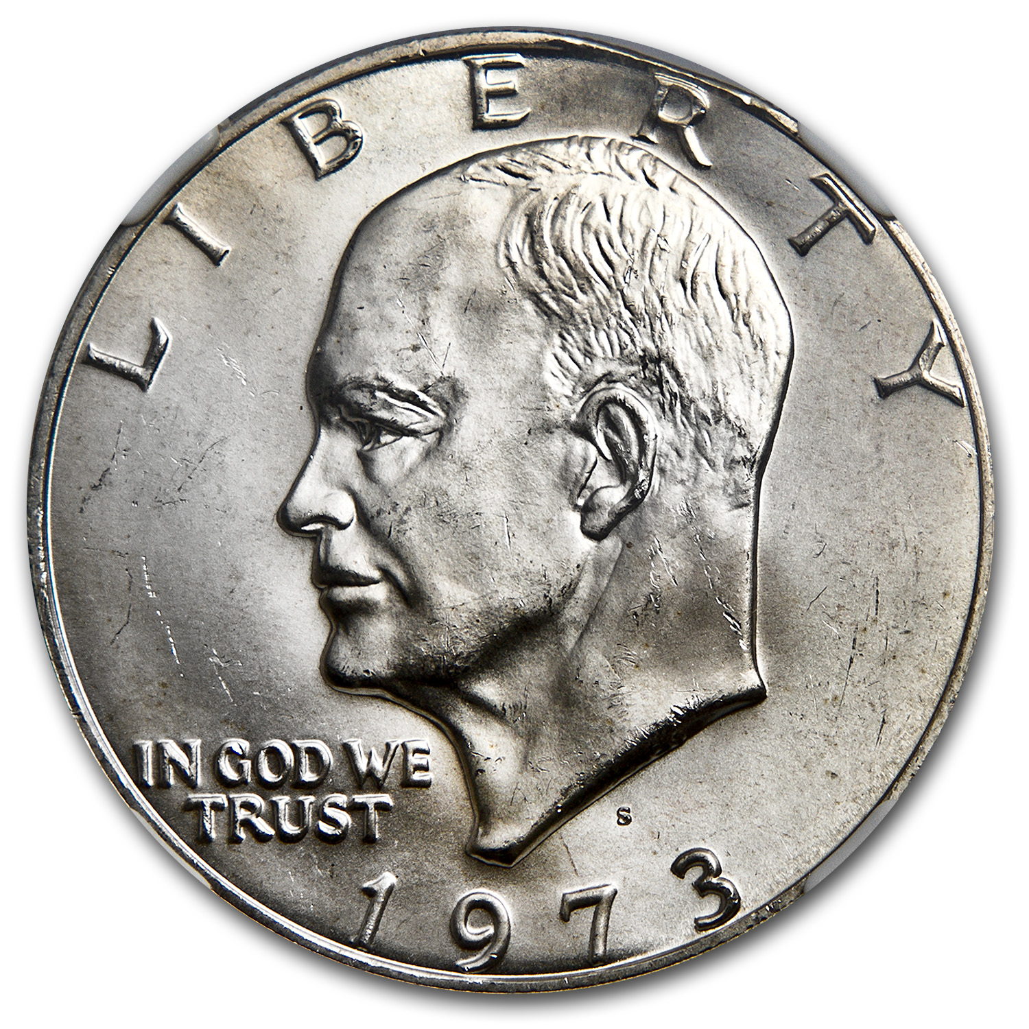 1973-S Eisenhower Silver Dollar MS-64 NGC (Curved Clip Error)