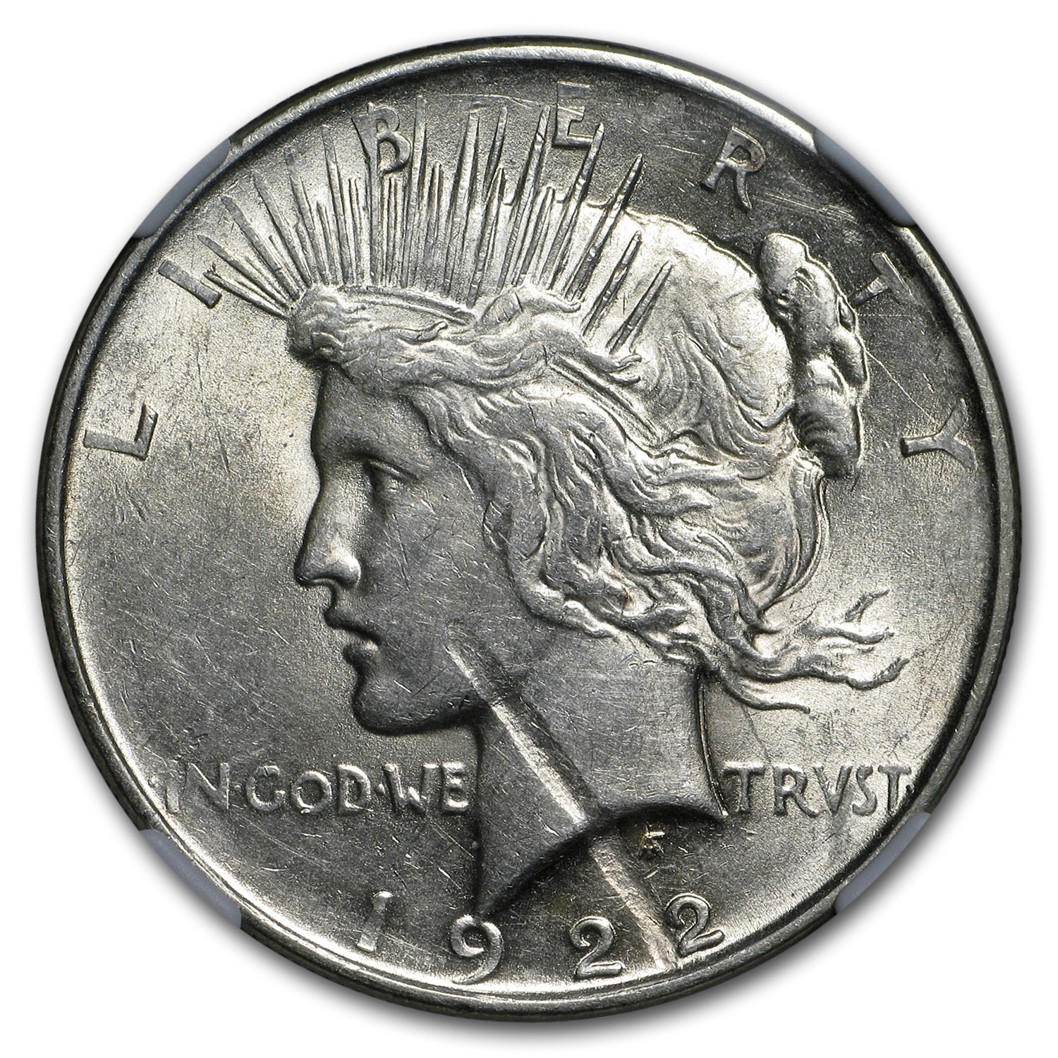 1922 Peace Dollar - AU-53 - NGC Obverse Struck Thru Mint Error