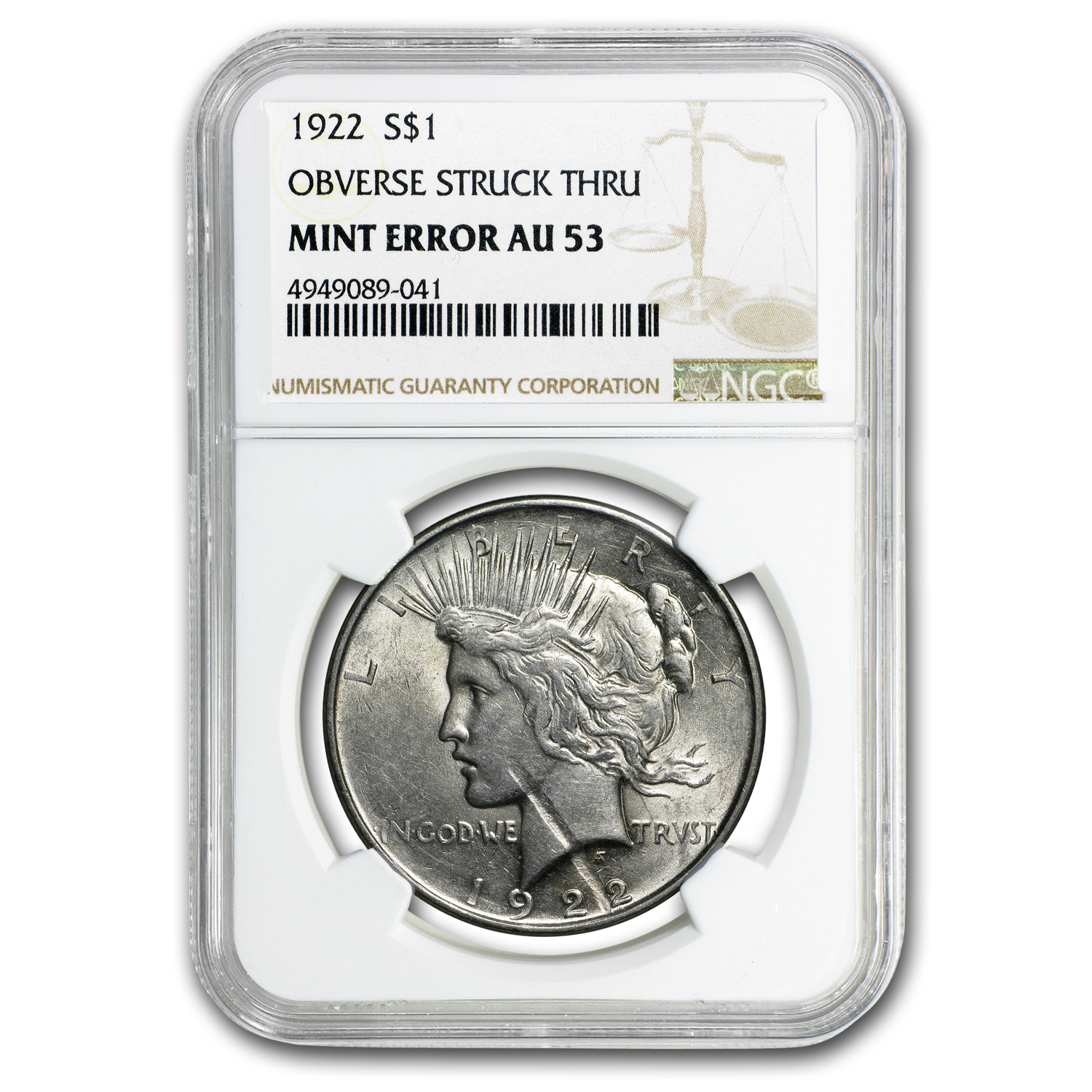 1922 Peace Dollar AU-53 NGC (Obv Struck Thru Error)