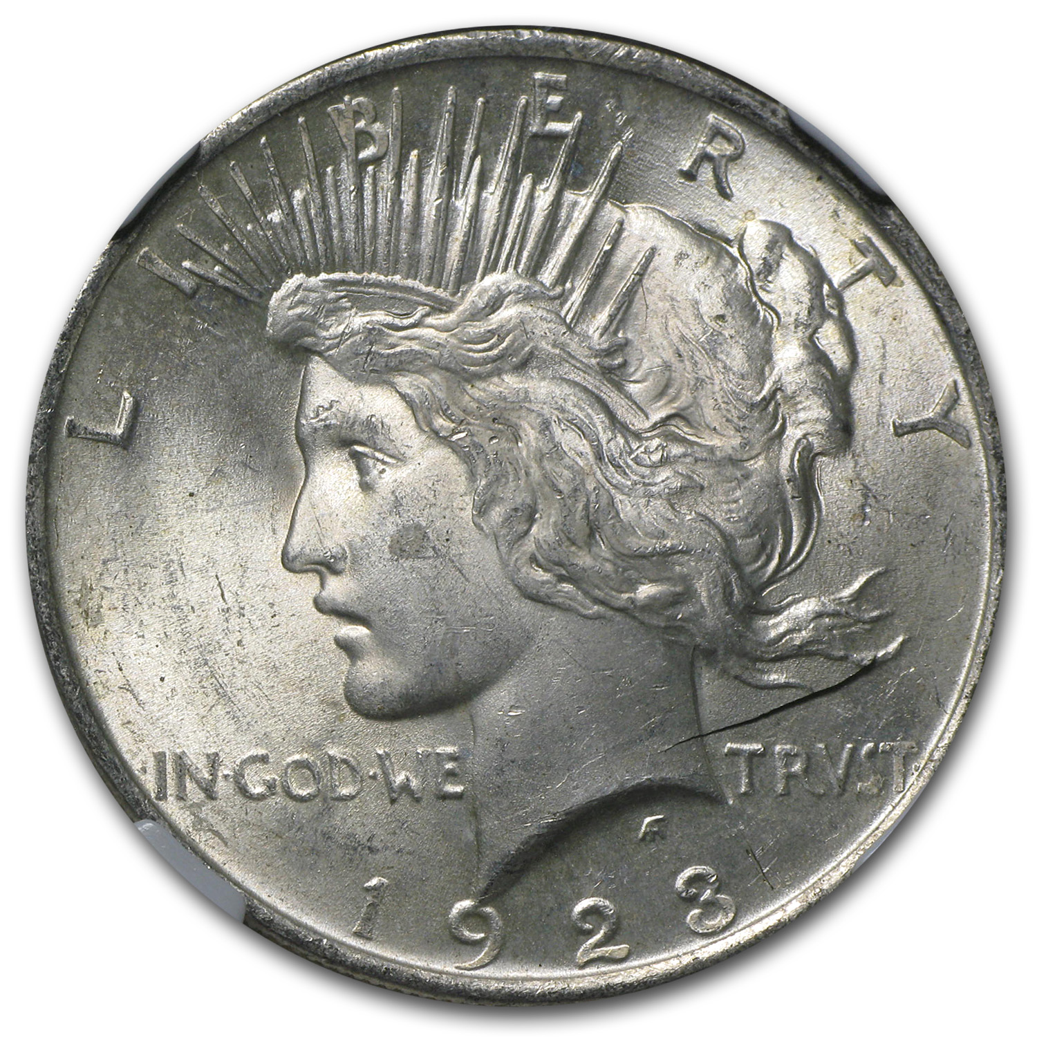 1923 Peace Dollar MS-63 NGC Mint Error - Obverse Lamination