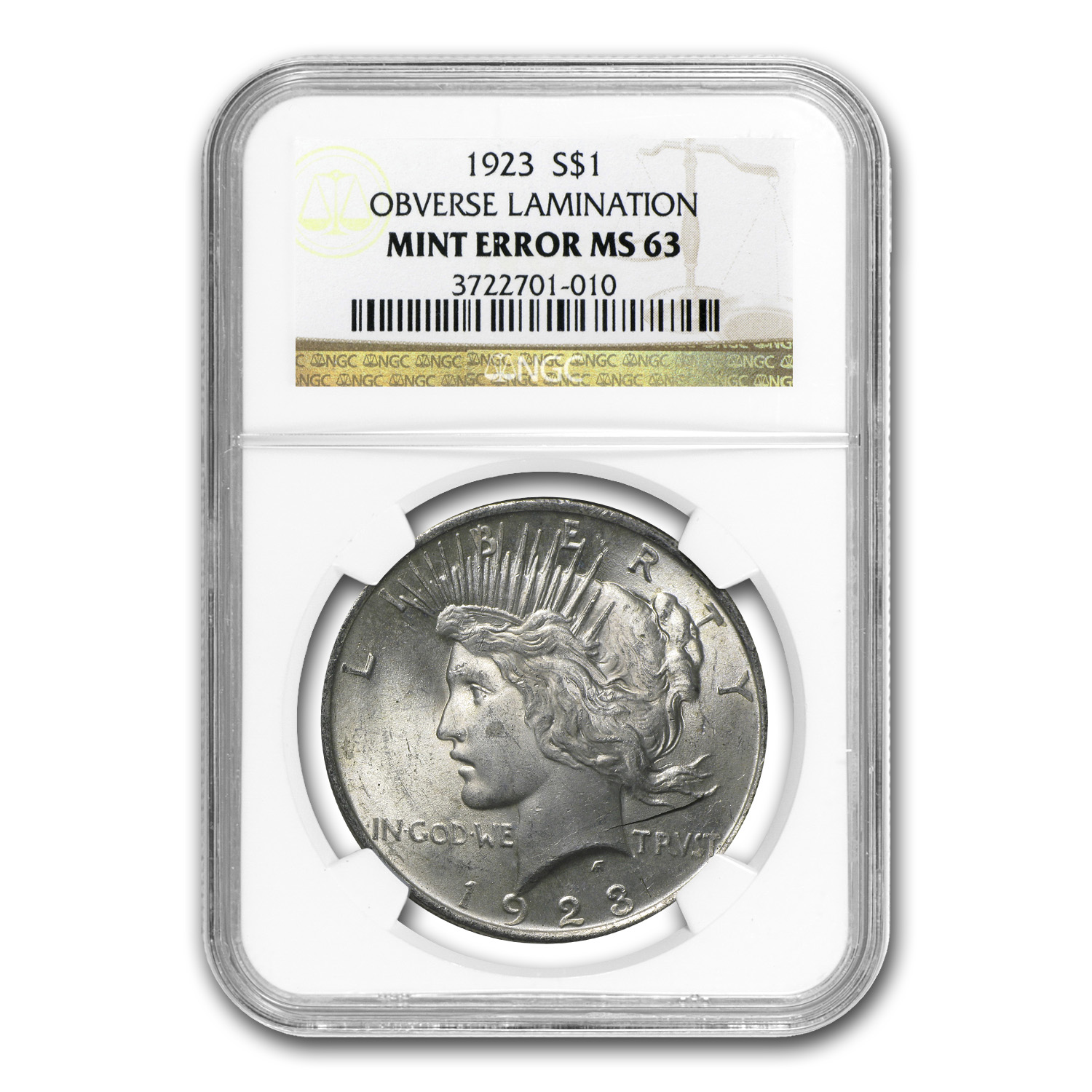1923 Peace Dollar MS-63 NGC (Obv Lamination Error)