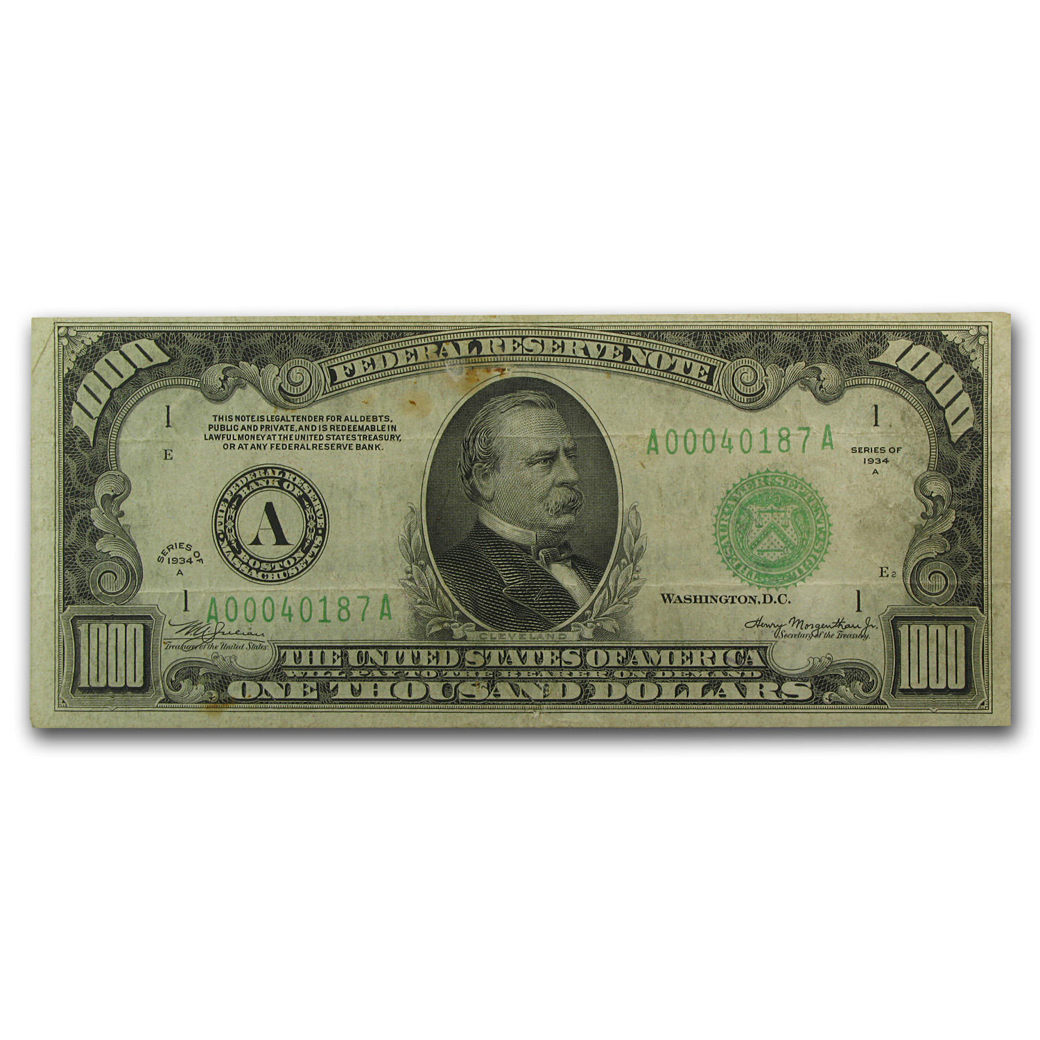 1934-A (A-Boston) $1,000 FRN (Very Fine)