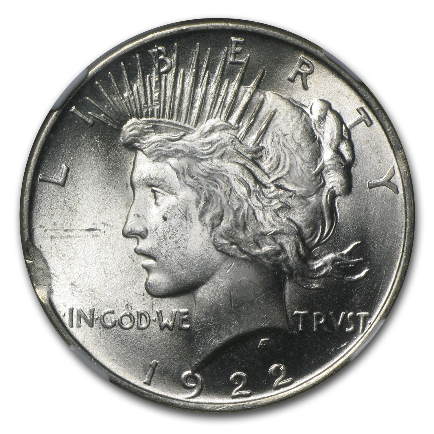1922 Peace Dollar MS-64 NGC - Curved Clip Planchet Mint Error