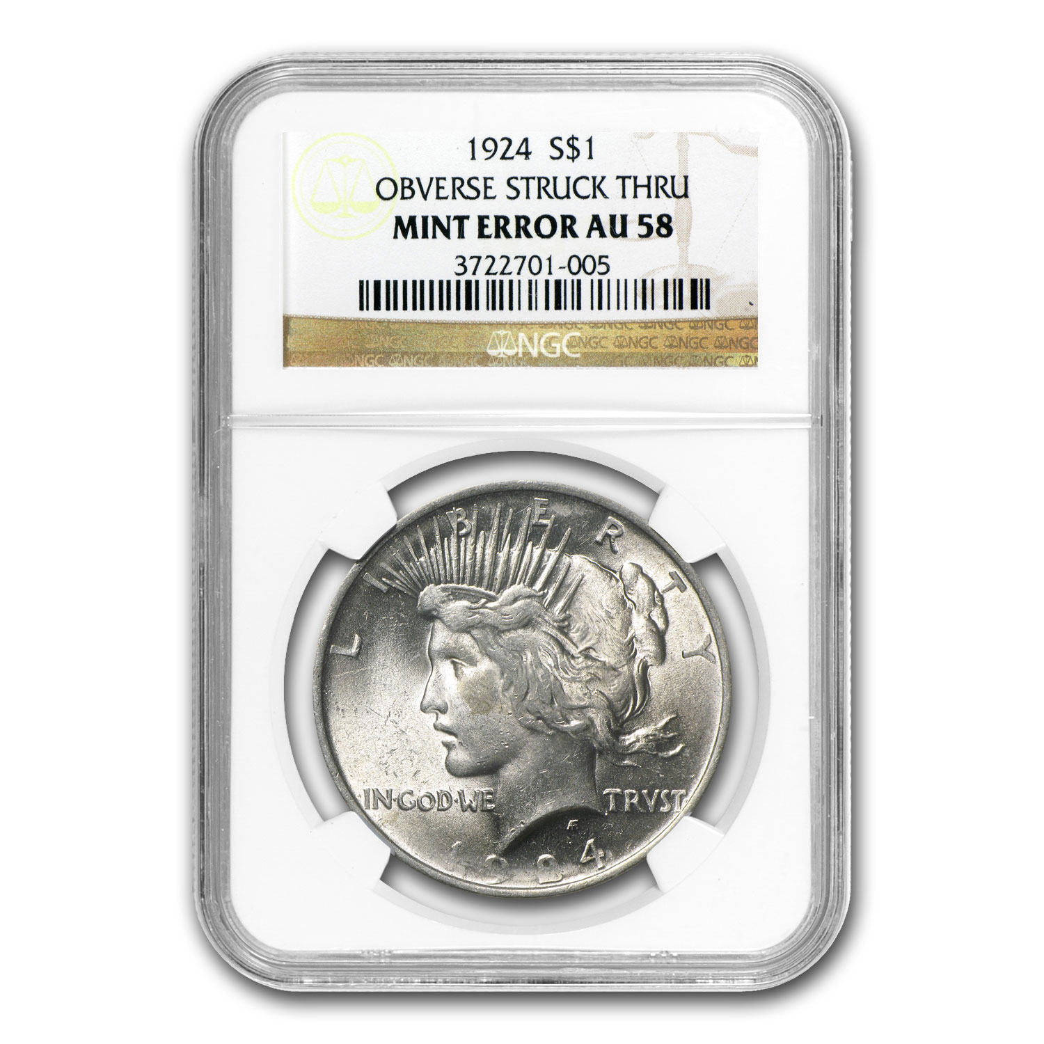 1924 Peace Dollar AU-58 NGC Struck Thru Mint Error