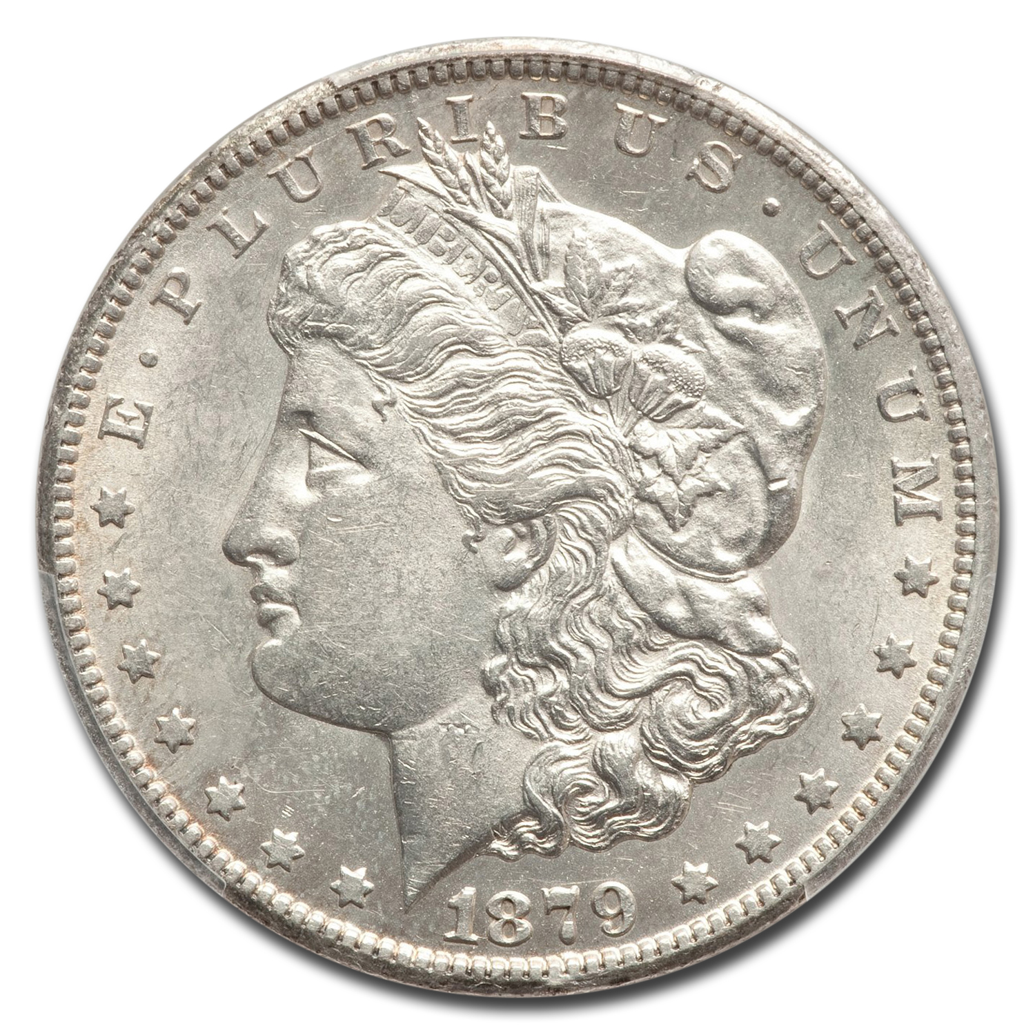 1879-CC Morgan Dollar - Almost Uncirculated-58 PCGS Capped Die