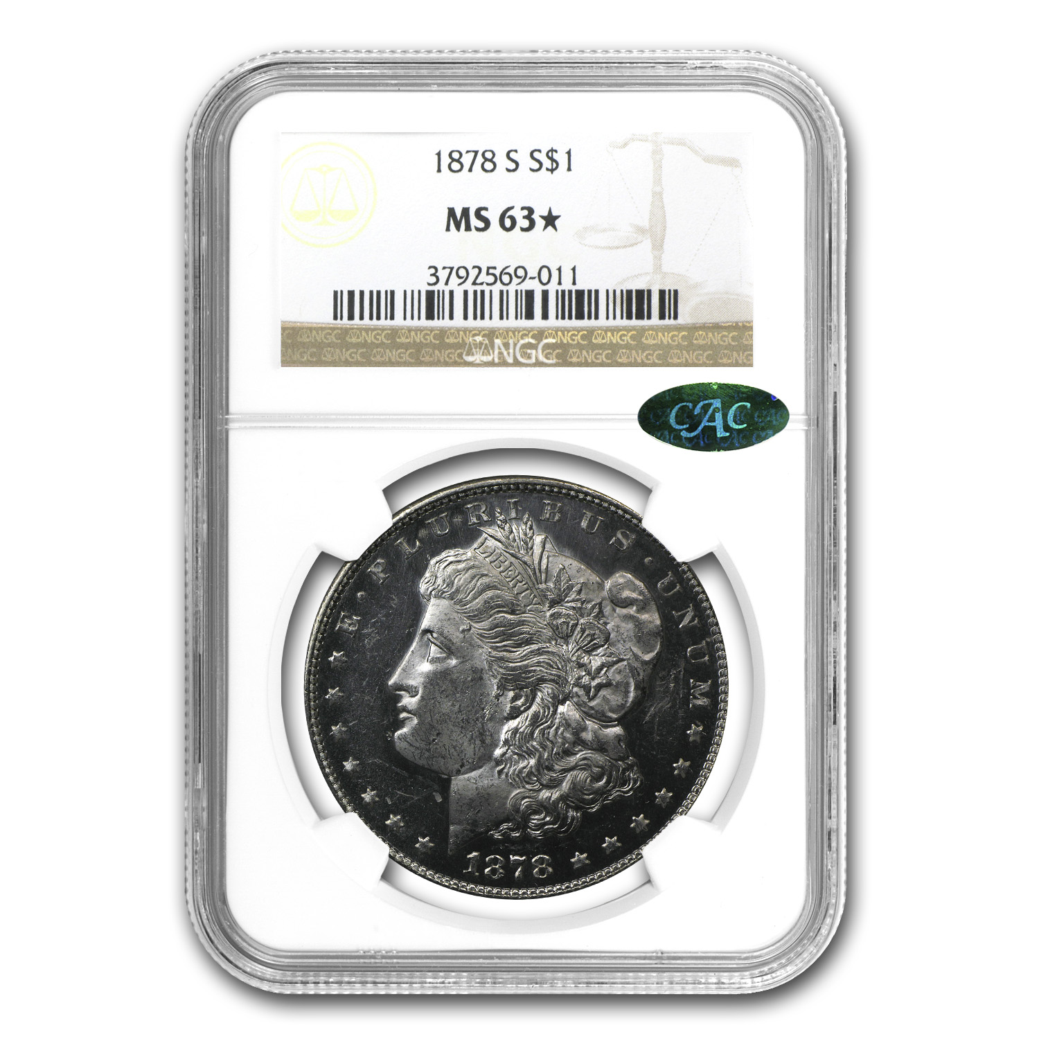 1878-S Morgan Dollar MS-63* NGC (Star Designation, CAC)