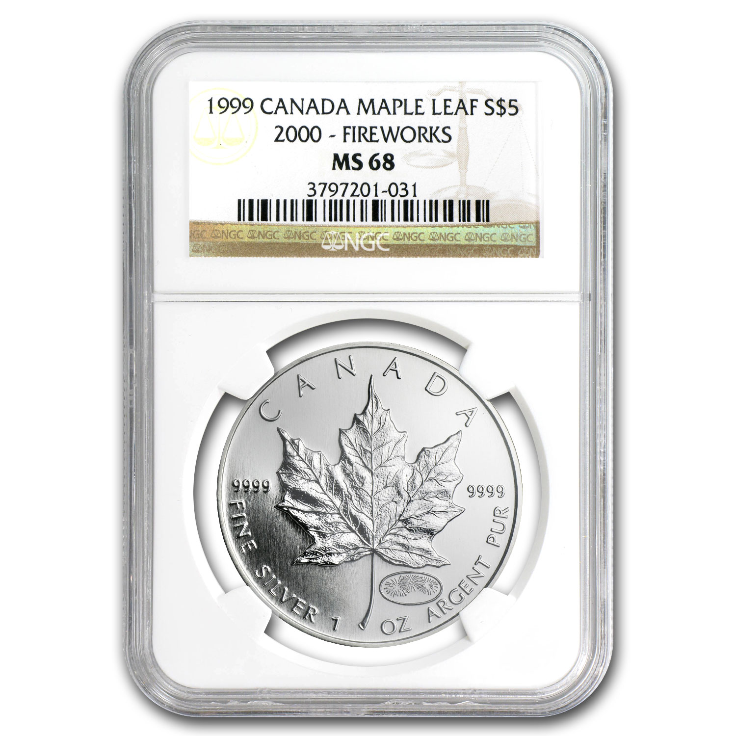 1999/2000 Canada 1 oz Silver Maple Leaf Millennium MS-68 NGC