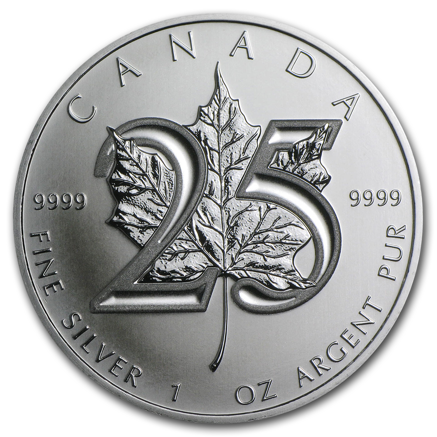 2013 Silver Maple Leaf (25-Coin MintDirect®Tube) 25th Anniversary