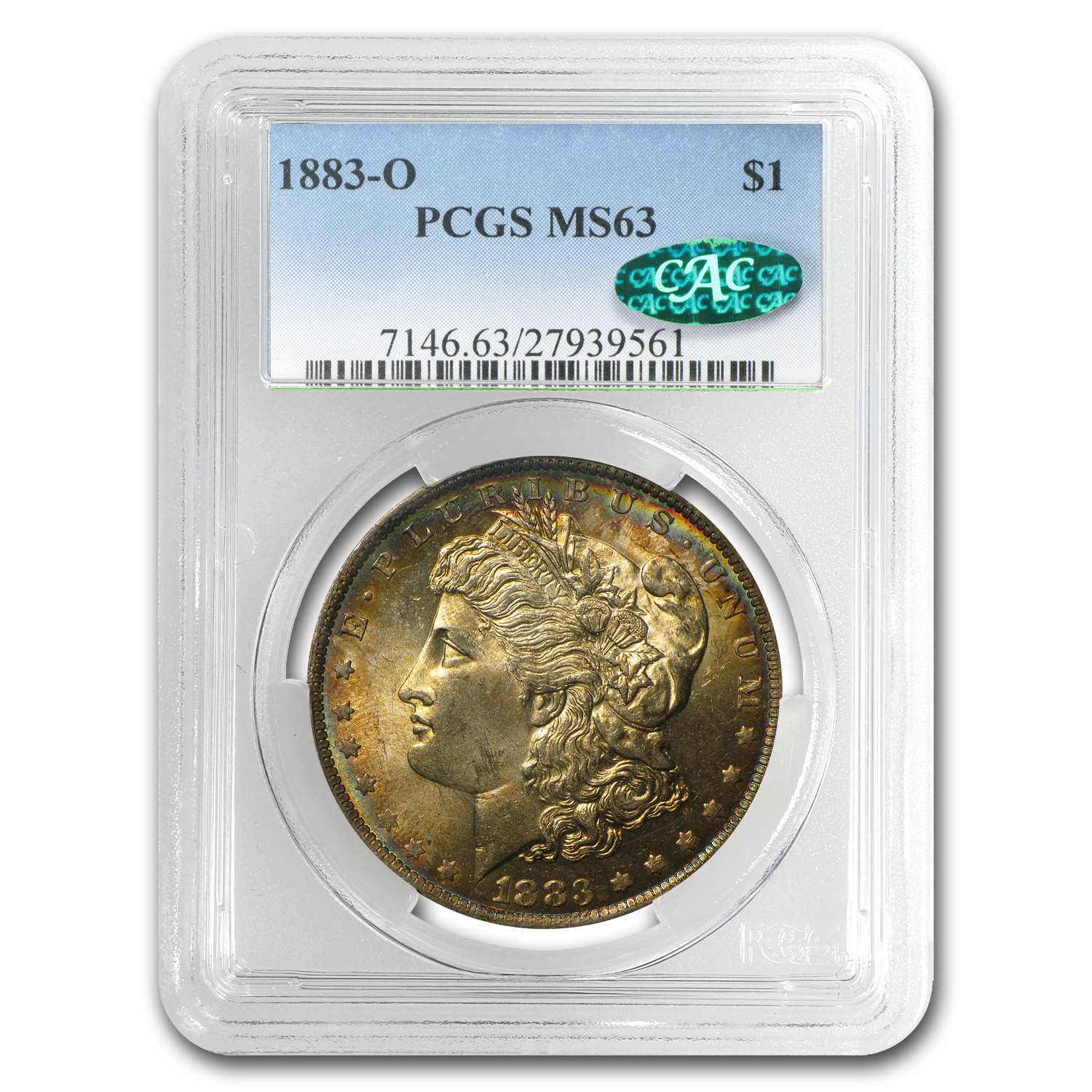1883-O Morgan Dollar MS-63 PCGS (Russet Toning, CAC)