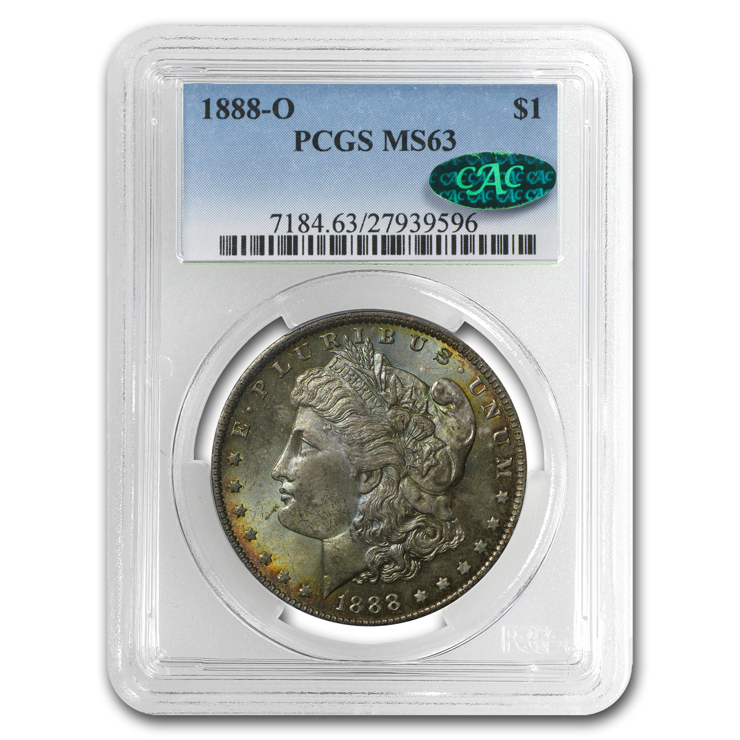 1888-O Morgan Dollar MS-63 PCGS (CAC, Beautiful Toning)