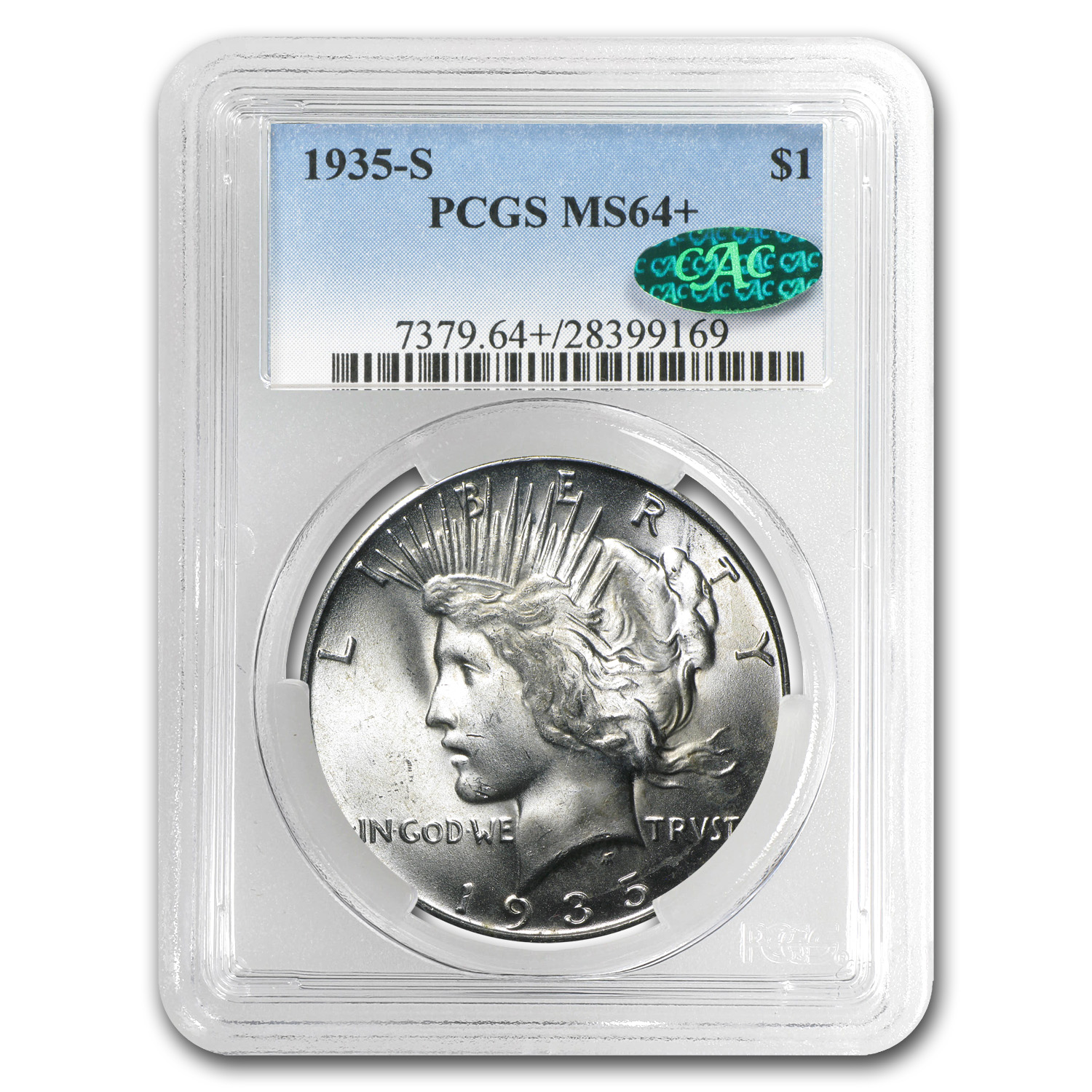 1935-S Peace Dollar MS-64+ Plus PCGS CAC