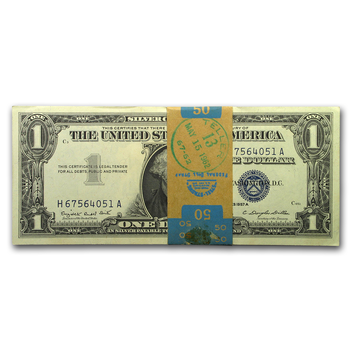 1957-A or B $1.00 Silver Certificate CU (50 Consecutive Notes)