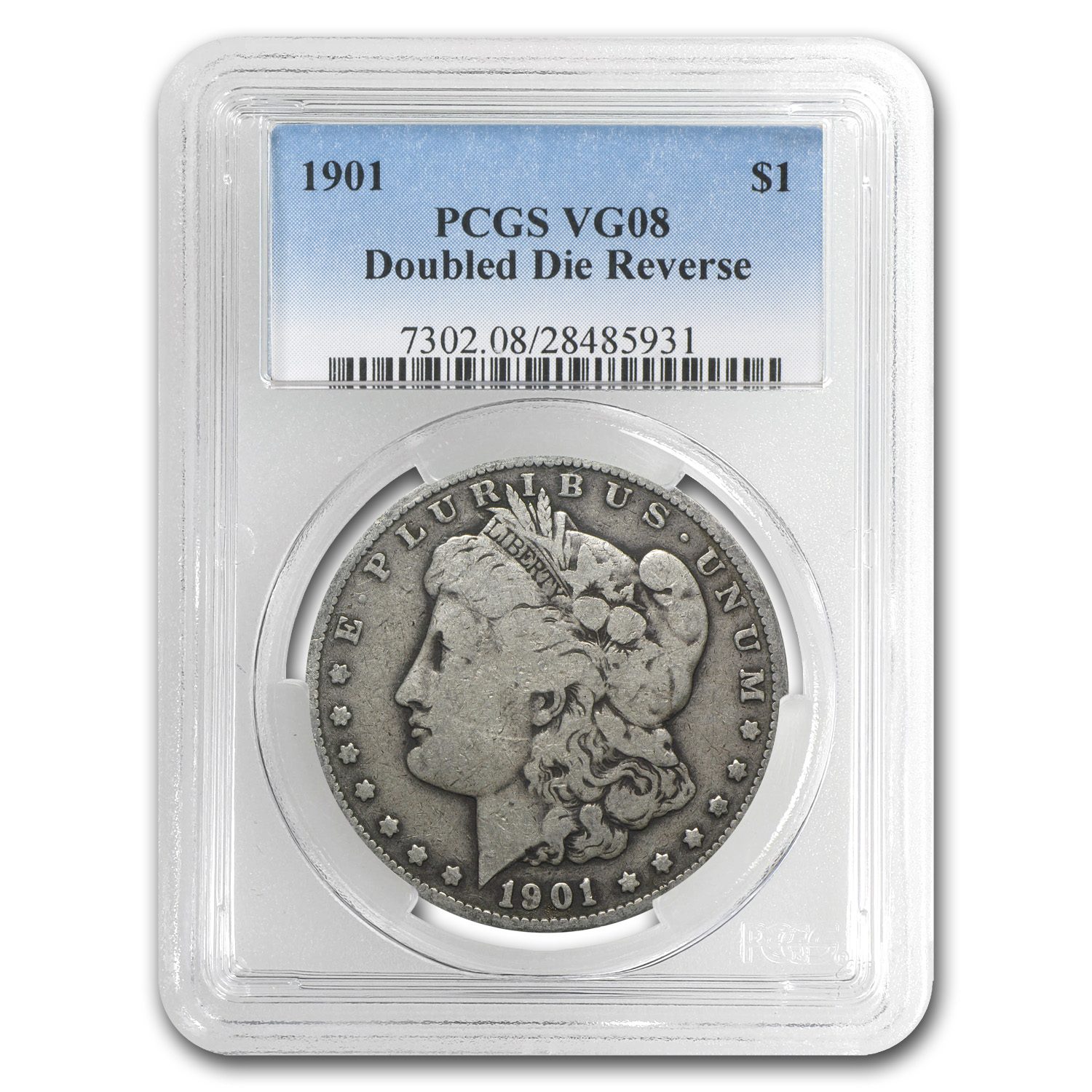 1901 Morgan Dollar VG-8 PCGS (VAM-3, Doubled Die Rev, Top-100)