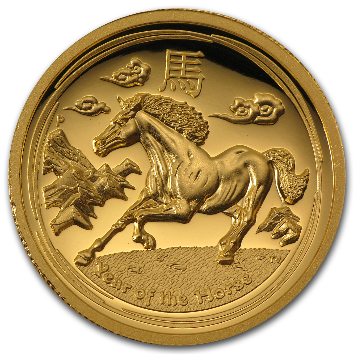 2014 1 oz Gold Lunar Year of the Horse Prf (SII, UHR, Box & COA)