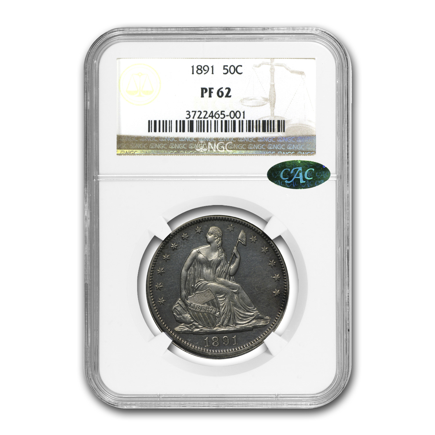 1891 Liberty Seated Half Dollar PF-62 NGC (CAC)