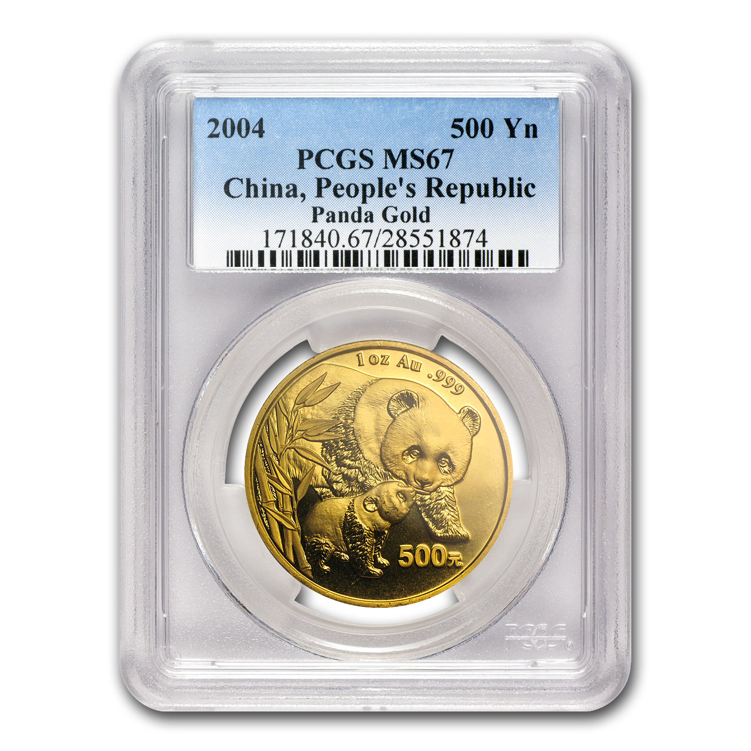 2004 China 1 oz Gold Panda MS-67 PCGS