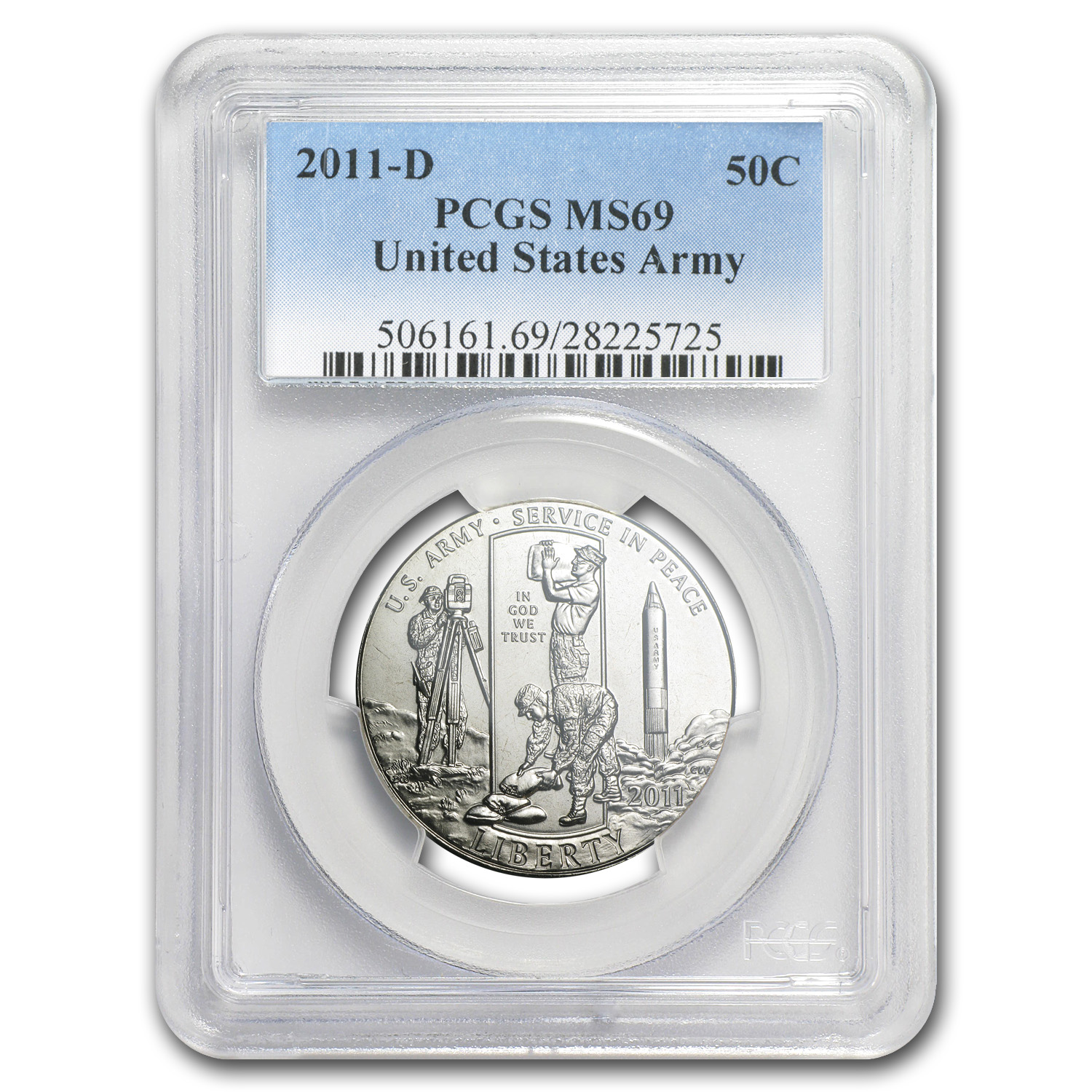 2011-D Army Half Dollar Clad Commem MS-69 PCGS