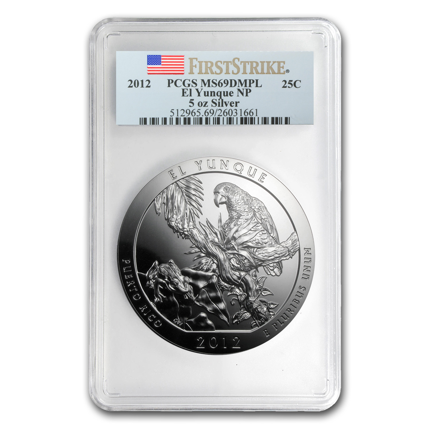 2012 5 oz Silver ATB El Yunque MS-69 DMPL PCGS (First Strike)