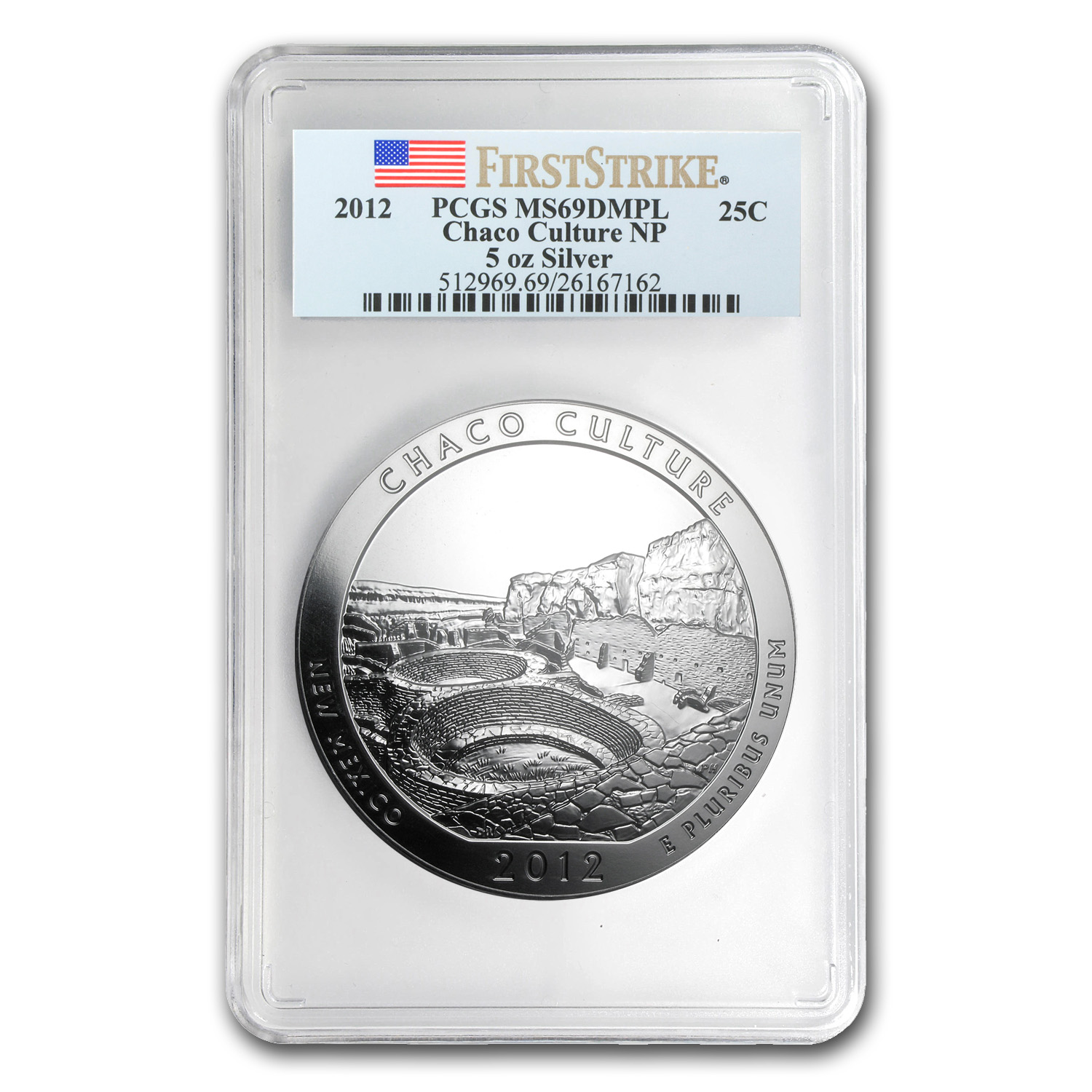 2012 5 oz Silver ATB Chaco Culture MS-69 DMPL PCGS (First Strike)