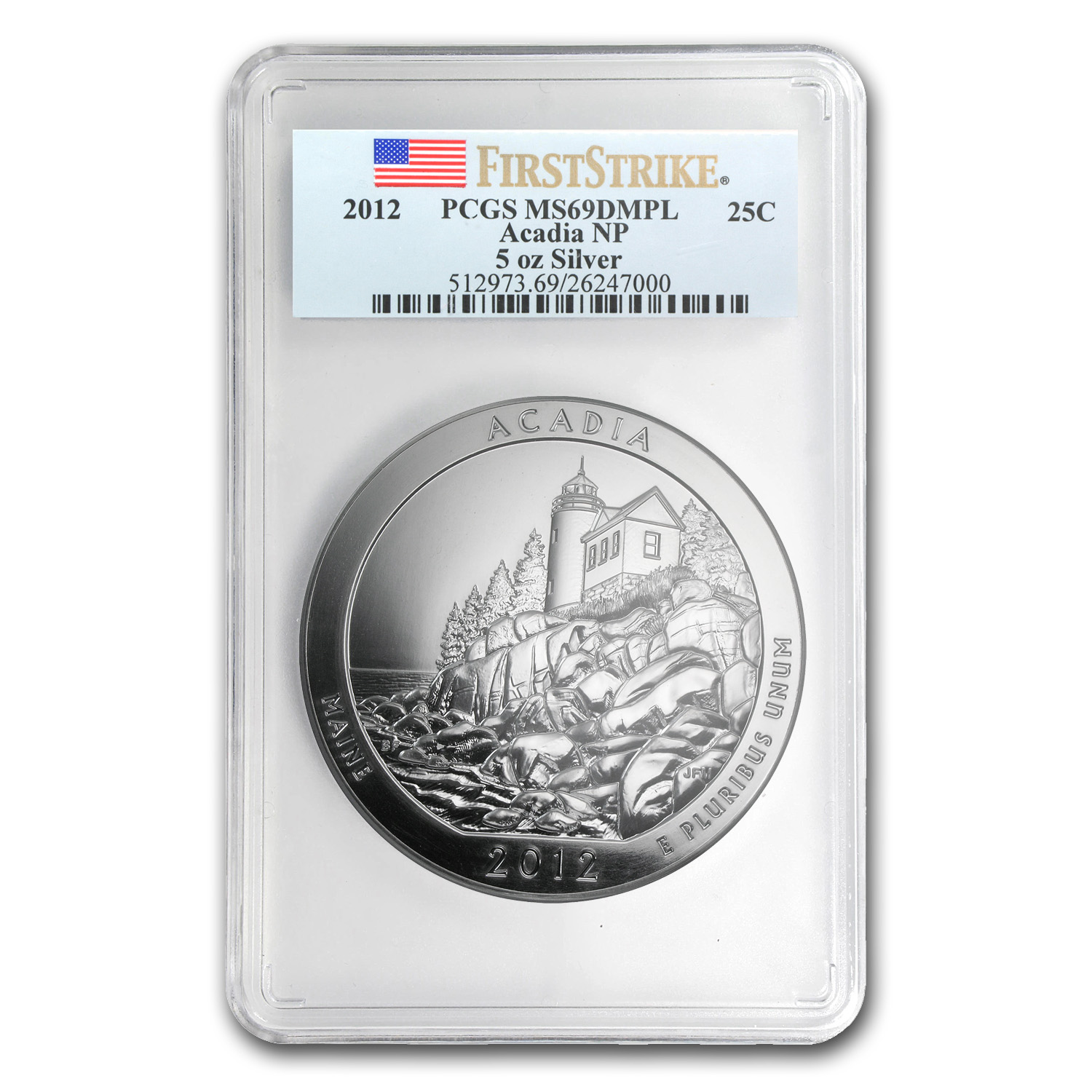 2012 5 oz Silver ATB Acadia MS-69 DMPL PCGS (First Strike)