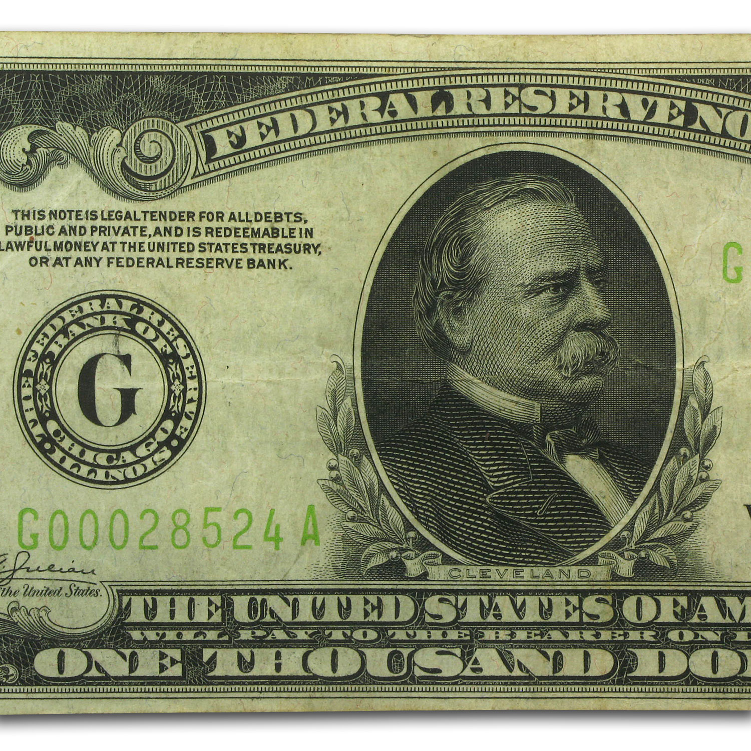 1934 (G-Chicago) $1,000 FRN (Very Fine +) Light Green Seal