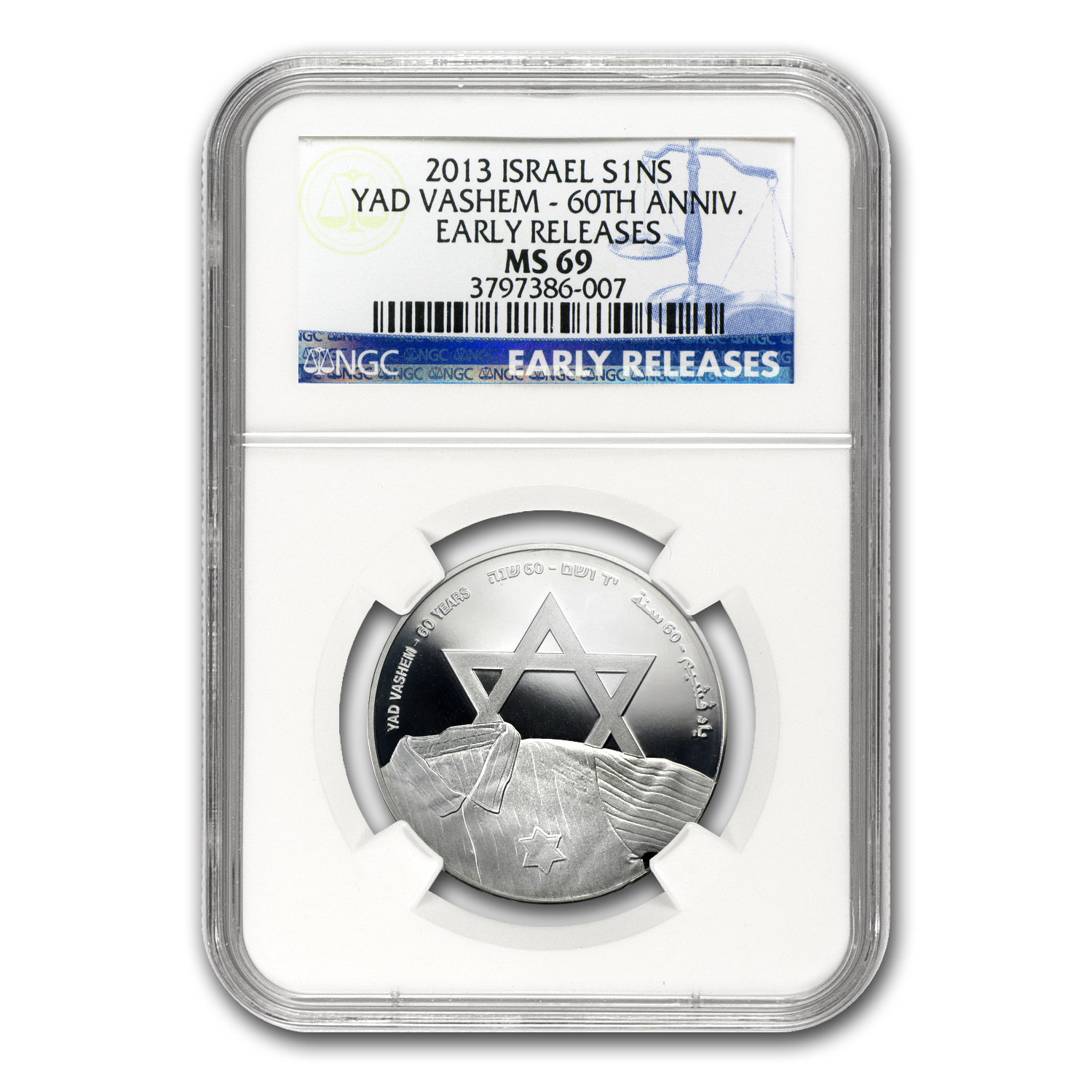 2013 Israel Yad Vashem Proof-Like Silver 1 NIS Coin MS-69 NGC ER