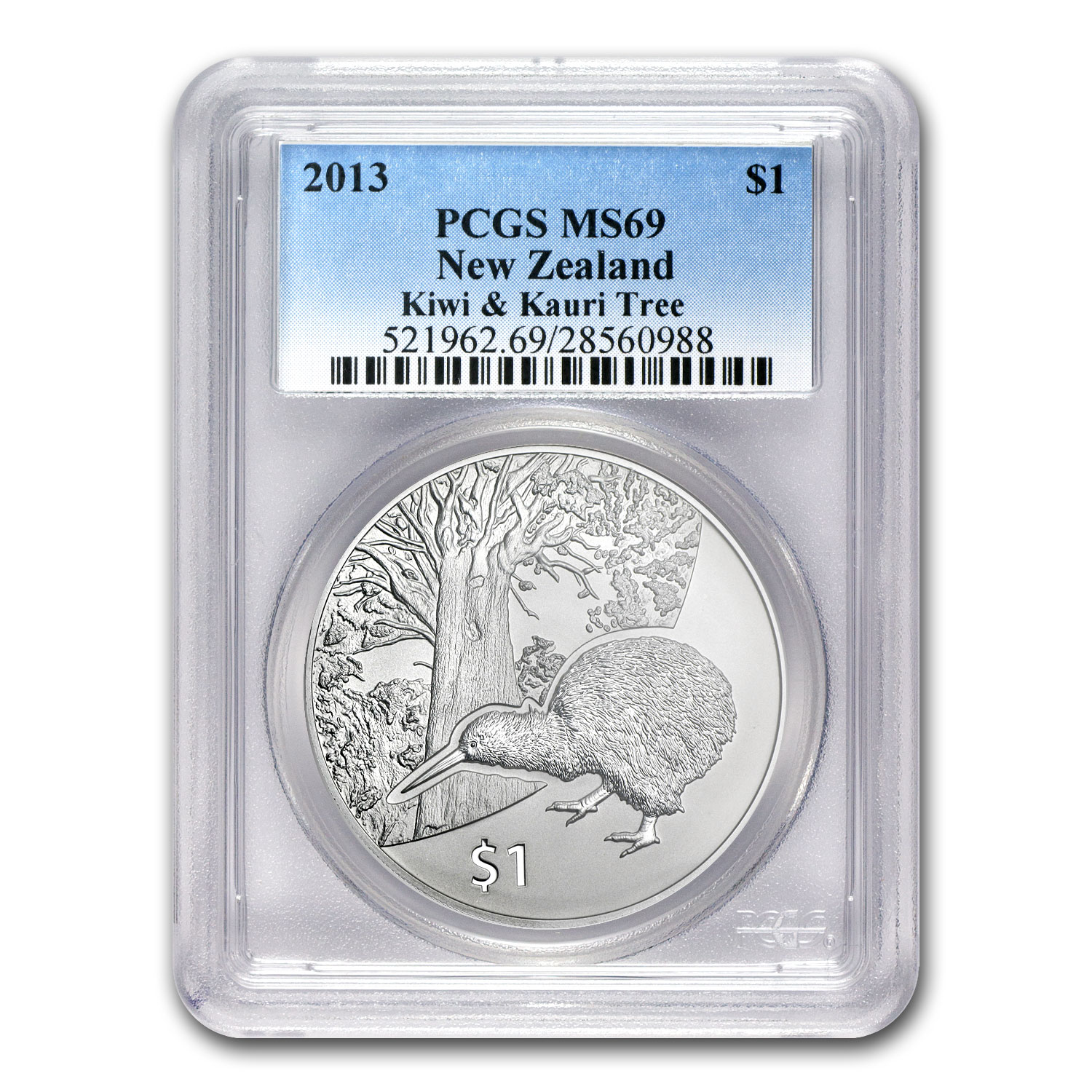 2013 1 oz Silver New Zealand Treasures $1 Kiwi MS-69 PCGS