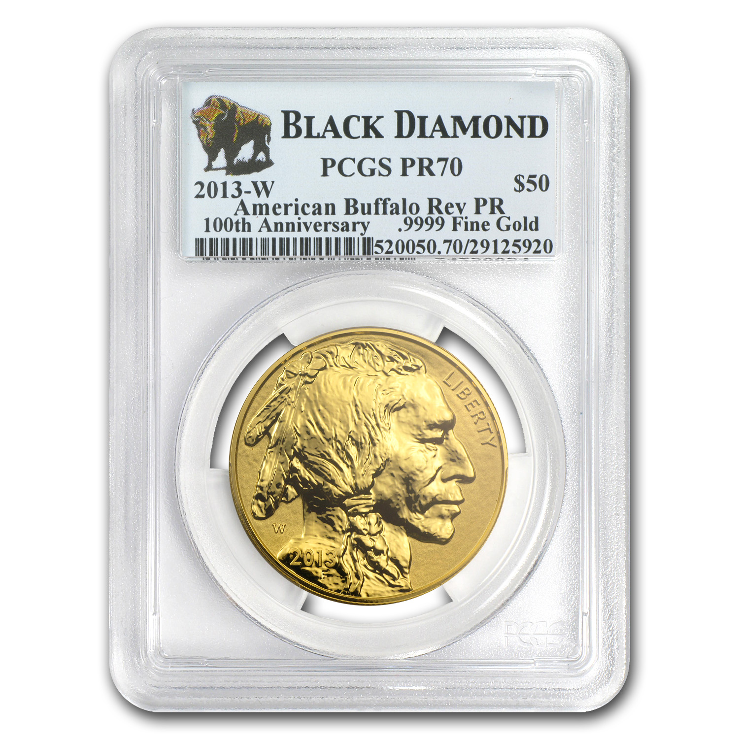 2013-W 1 oz Reverse Proof Gold Buffalo PR-70 PCGS (Black Diamond)
