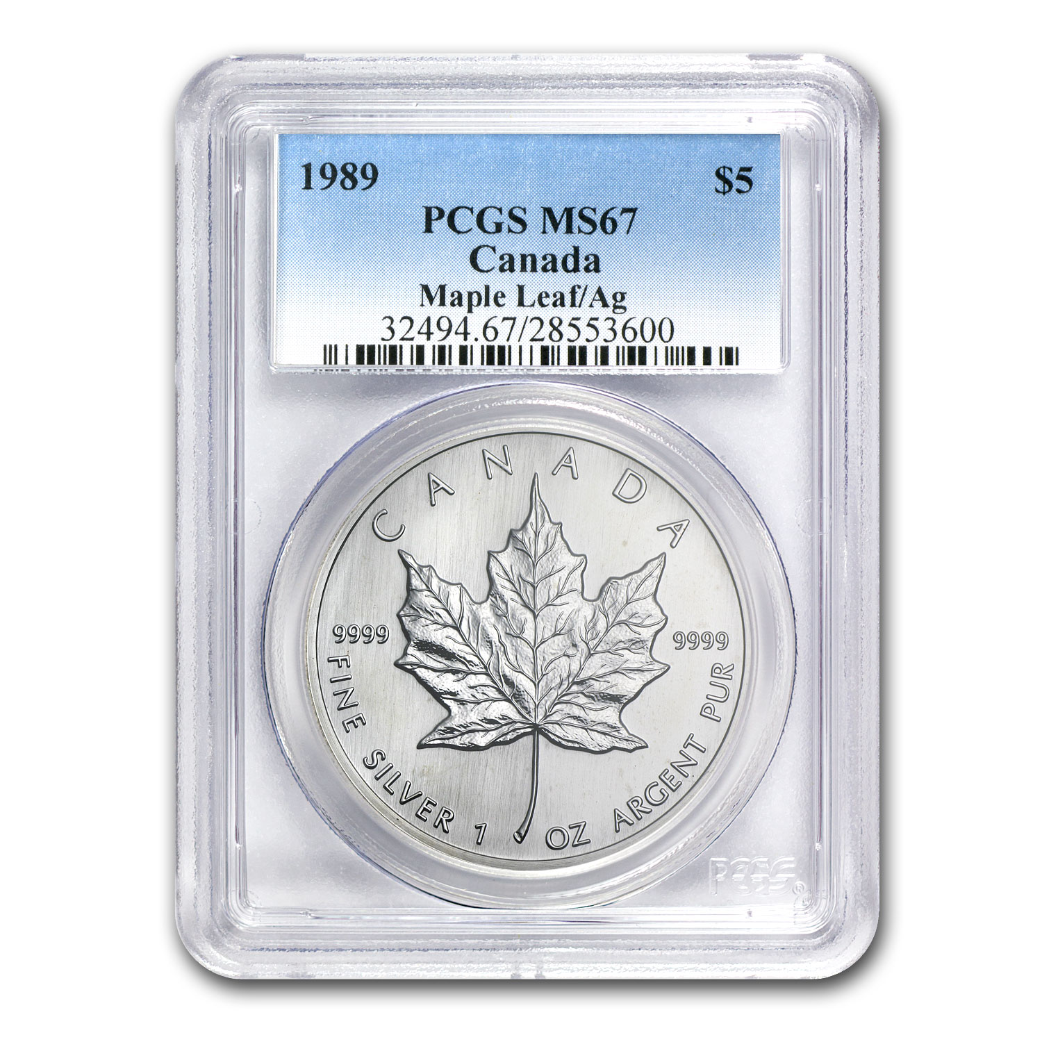 1989 1 oz Silver Canadian Maple Leaf MS-67 PCGS