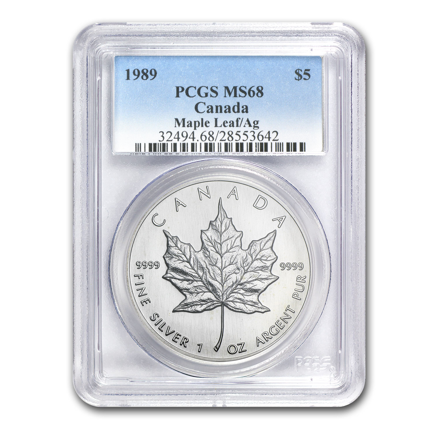 1989 1 oz Silver Canadian Maple Leaf MS-68 PCGS