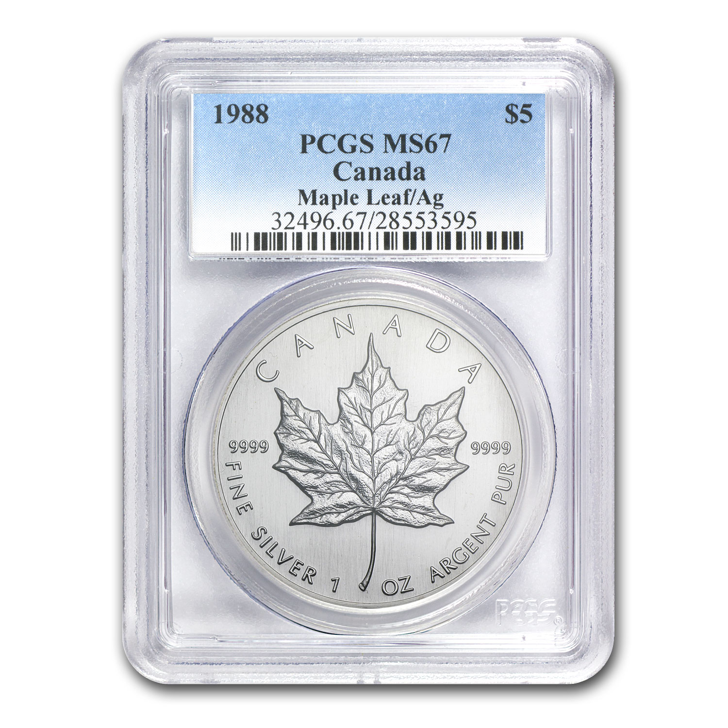 1988 1 oz Silver Canadian Maple Leaf MS-67 PCGS