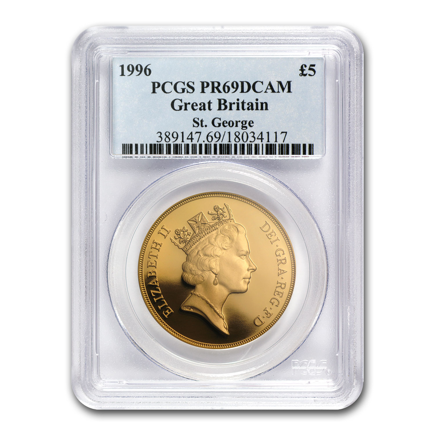 Great Britain 1996 Gold 5 Pounds PR-69 DCAM PCGS