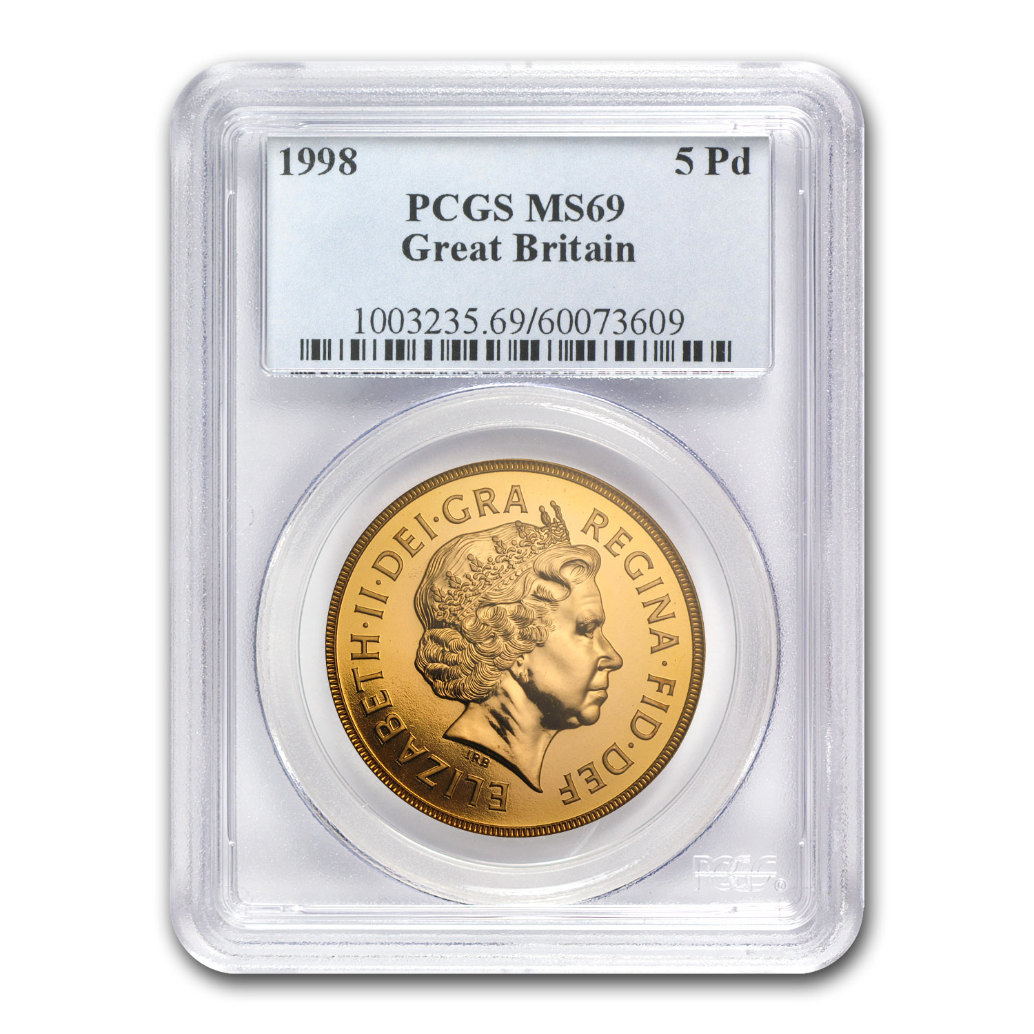 1998 Great Britain Gold £5 Sovereign PR-69 PCGS