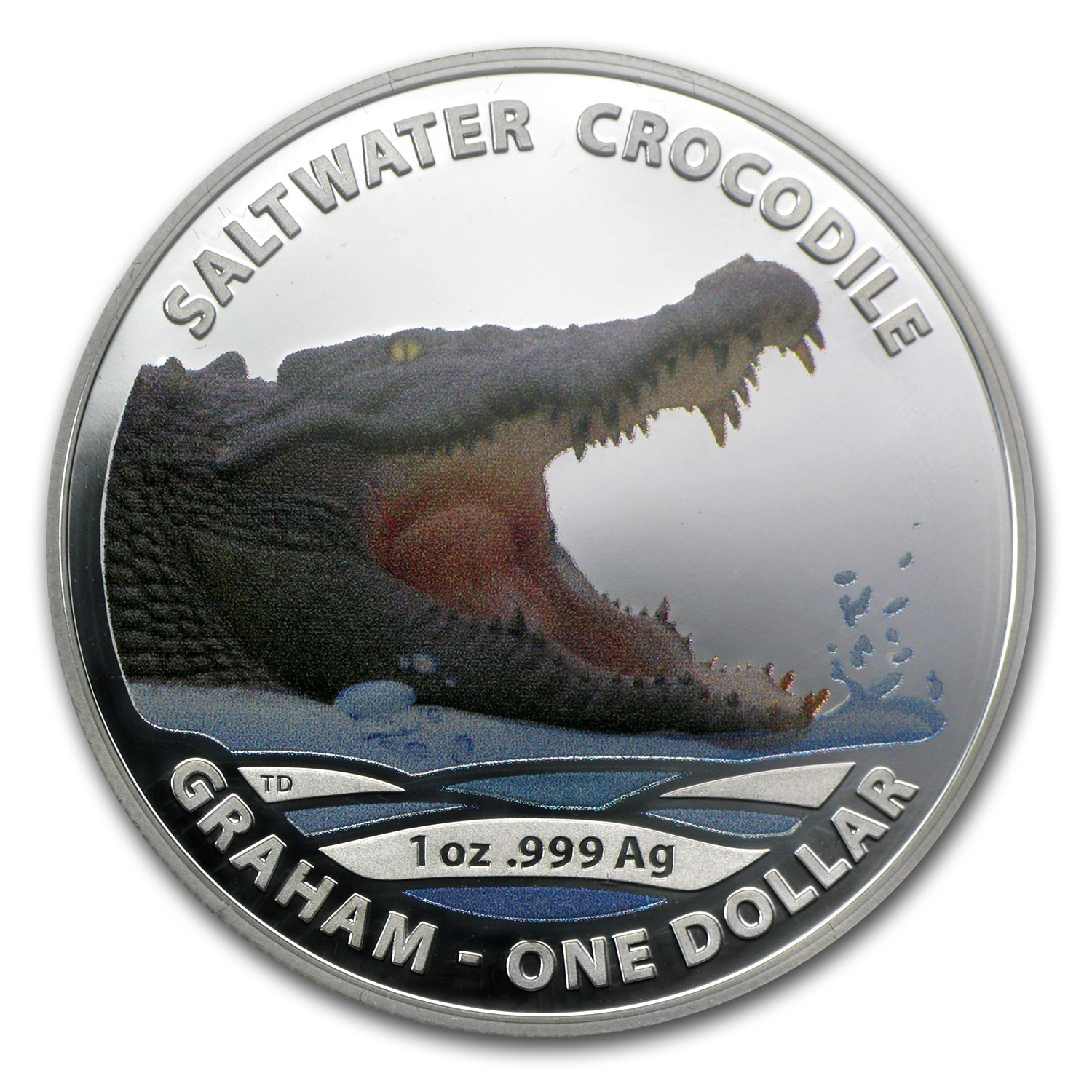 2014 1 oz Silver Saltwater Crocodile Proof (Graham, Colorized)