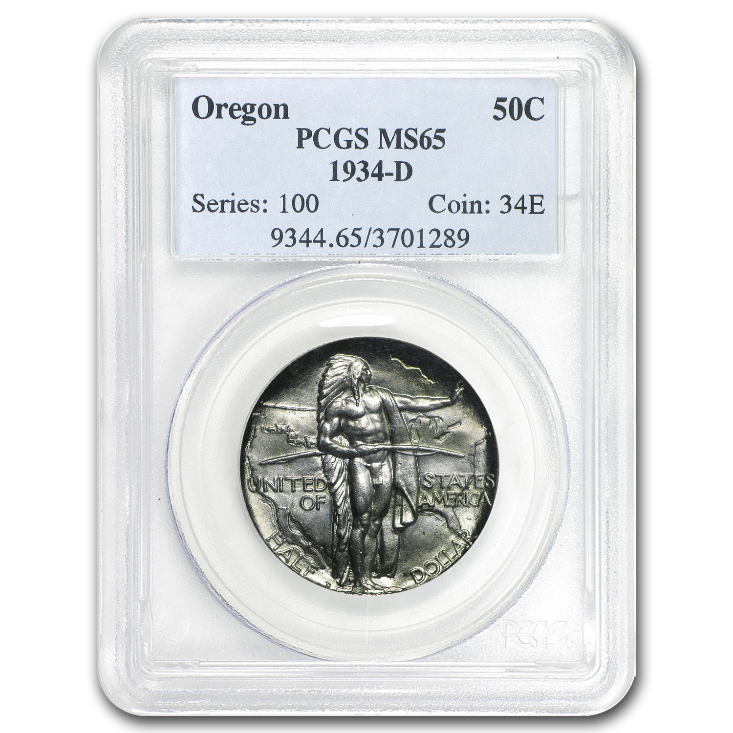 1934-D Oregon Trail Commemorative Half Dollar MS-65 PCGS