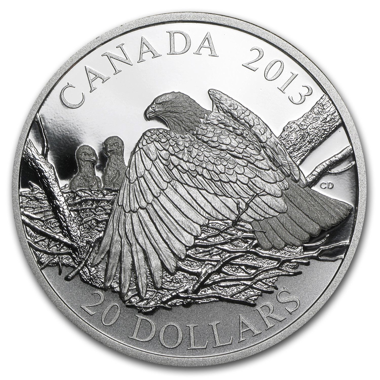 2013 Canada 1 oz Silver Bald Eagle Mother Protecting Her Eaglets