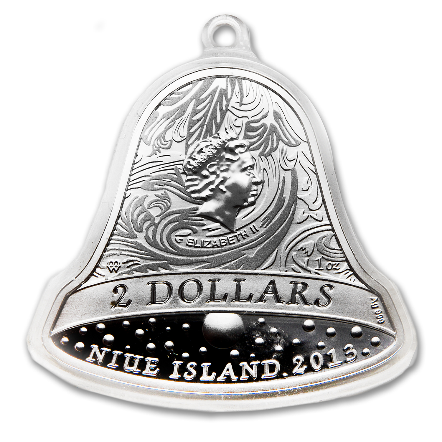 Niue 2013 1 oz Silver $2 Christmas Bell with Swarovski Crystal