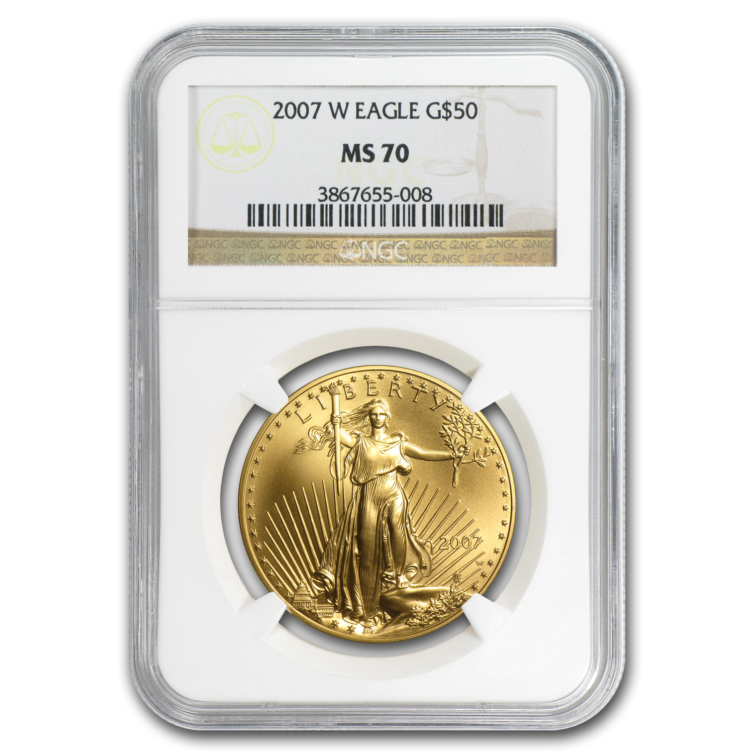 2007-W 4-Coin Burnished Gold American Eagle Set MS-70 NGC