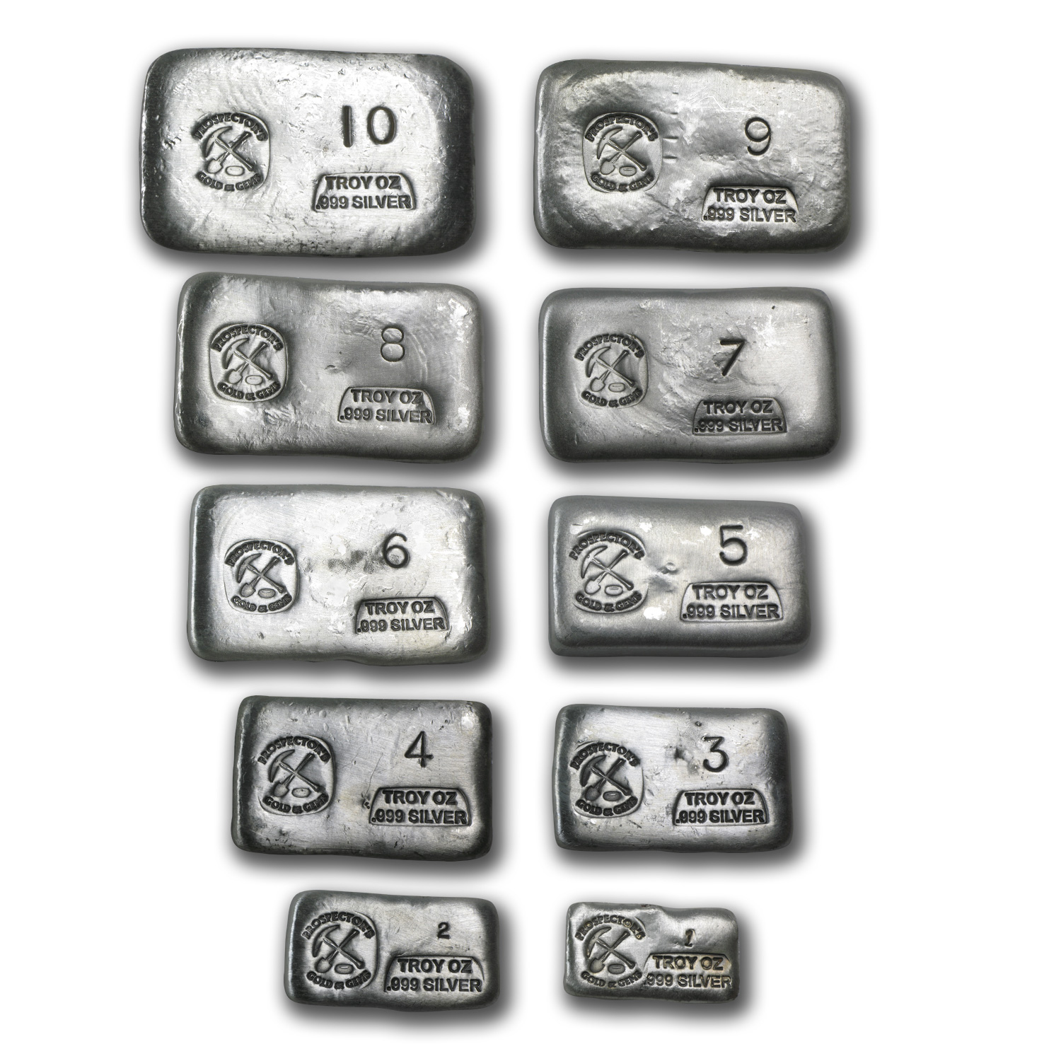 1 oz-10 oz Silver Bars - Prospector's Gold & Gems (55 oz total)