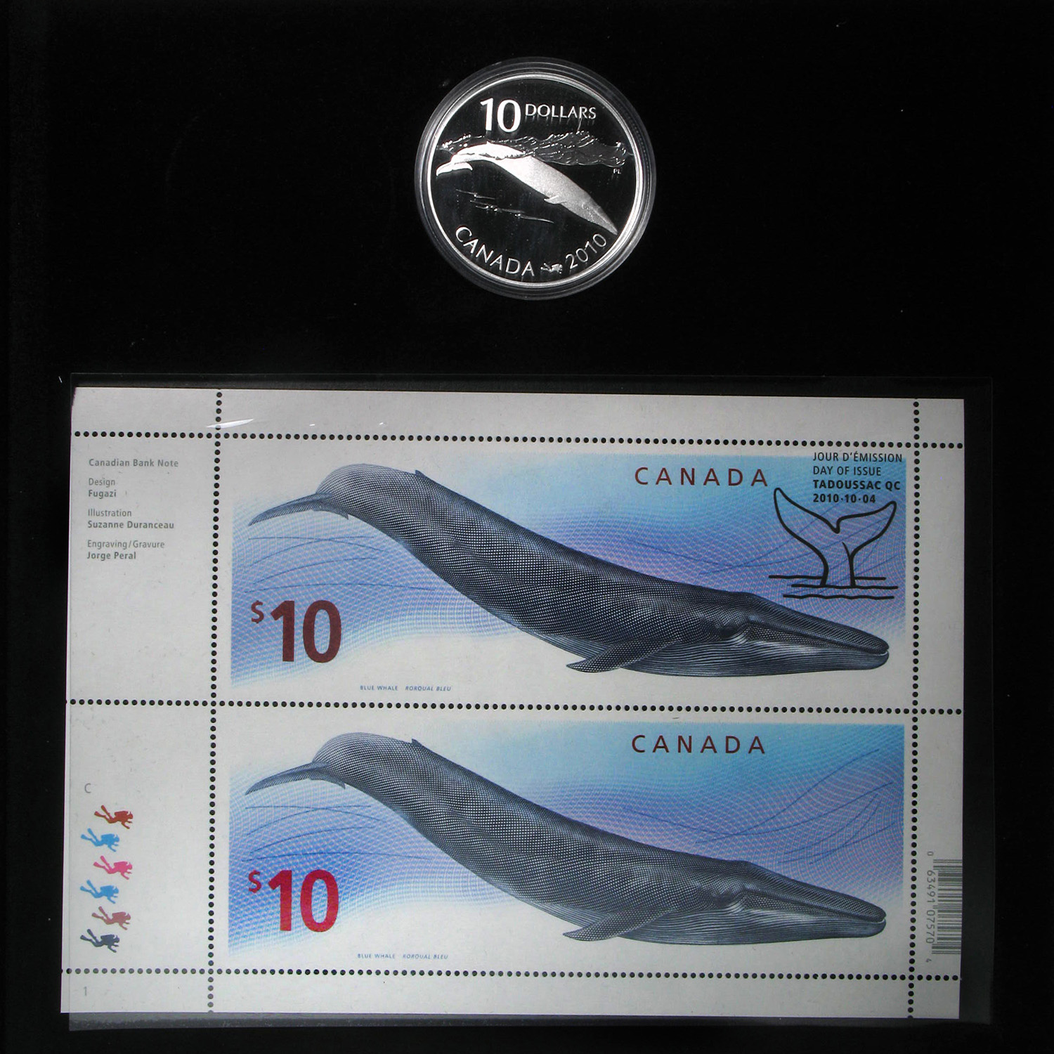 2010 Silver Canadian $10 Blue Whale Coin & Stamp Set