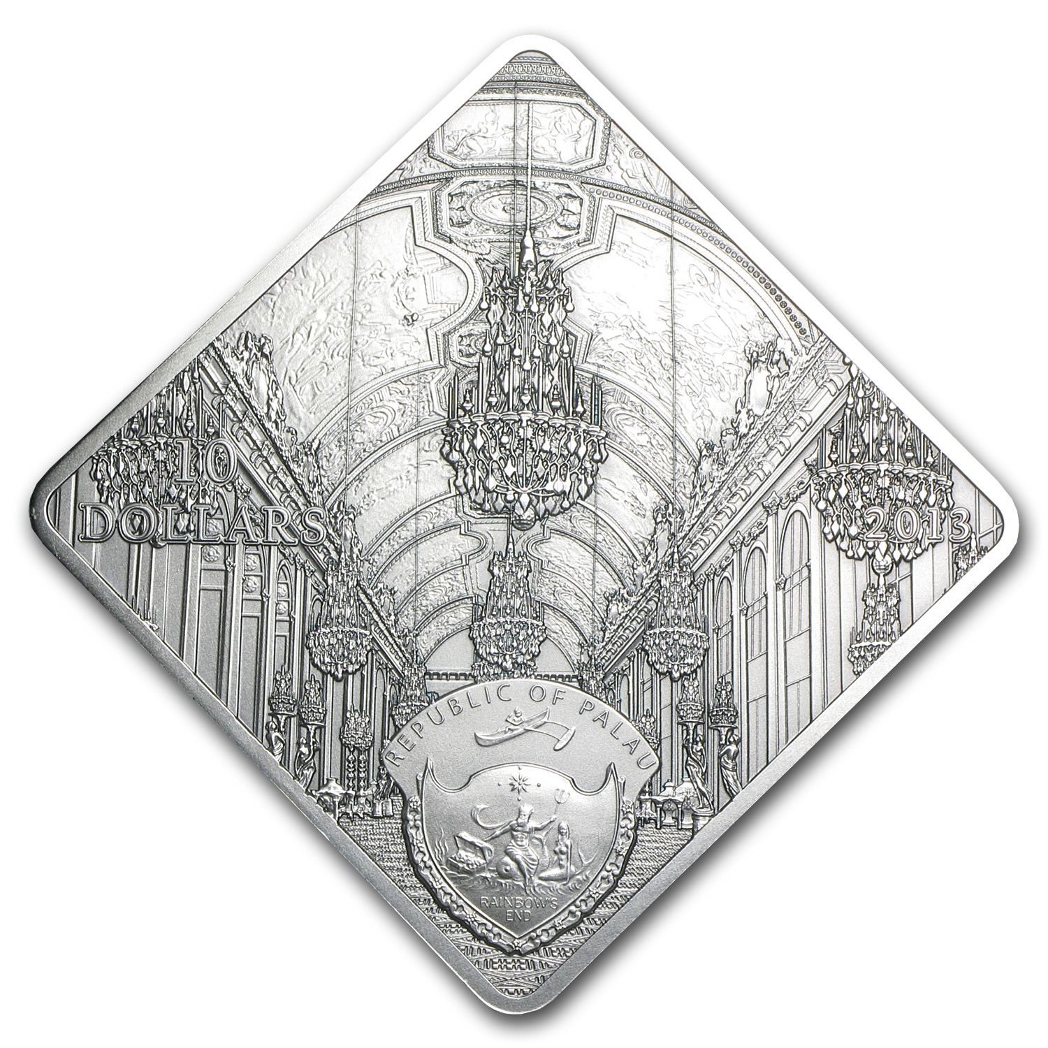 2013 Palau Proof Silver $10 Versailles Hall of Mirrors