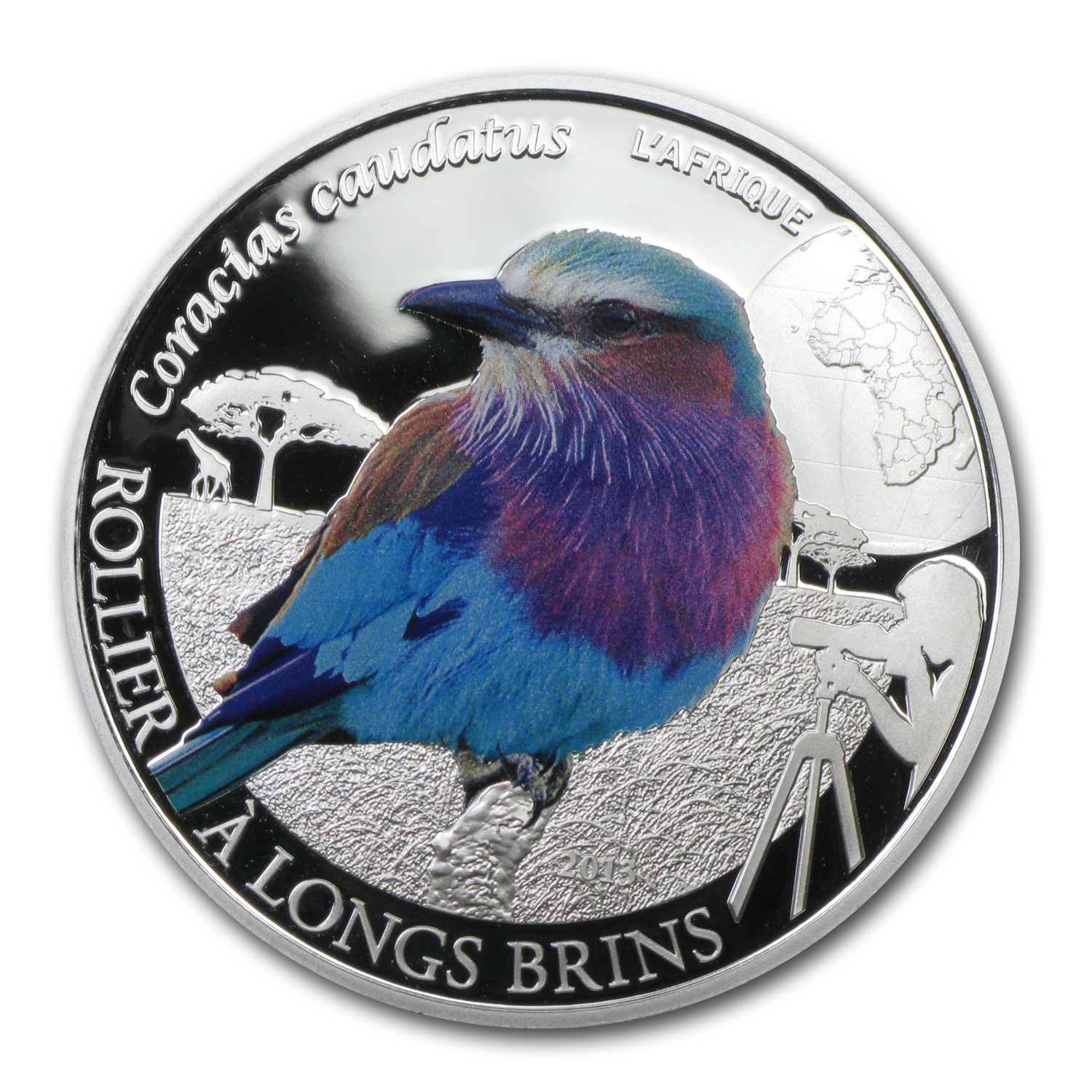 Burkina 2013 1/2 oz Silver Colorful Birds - Lilac-Breasted Roller