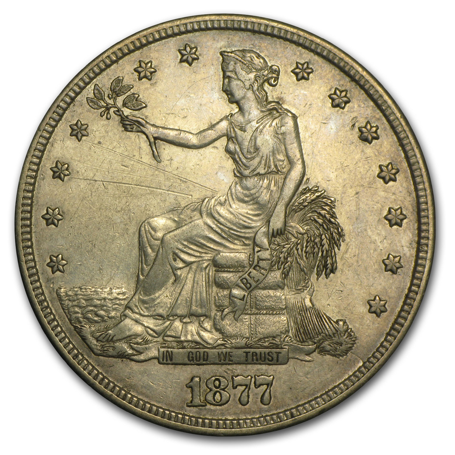1877-S Trade Dollar AU Details (Cleaned)