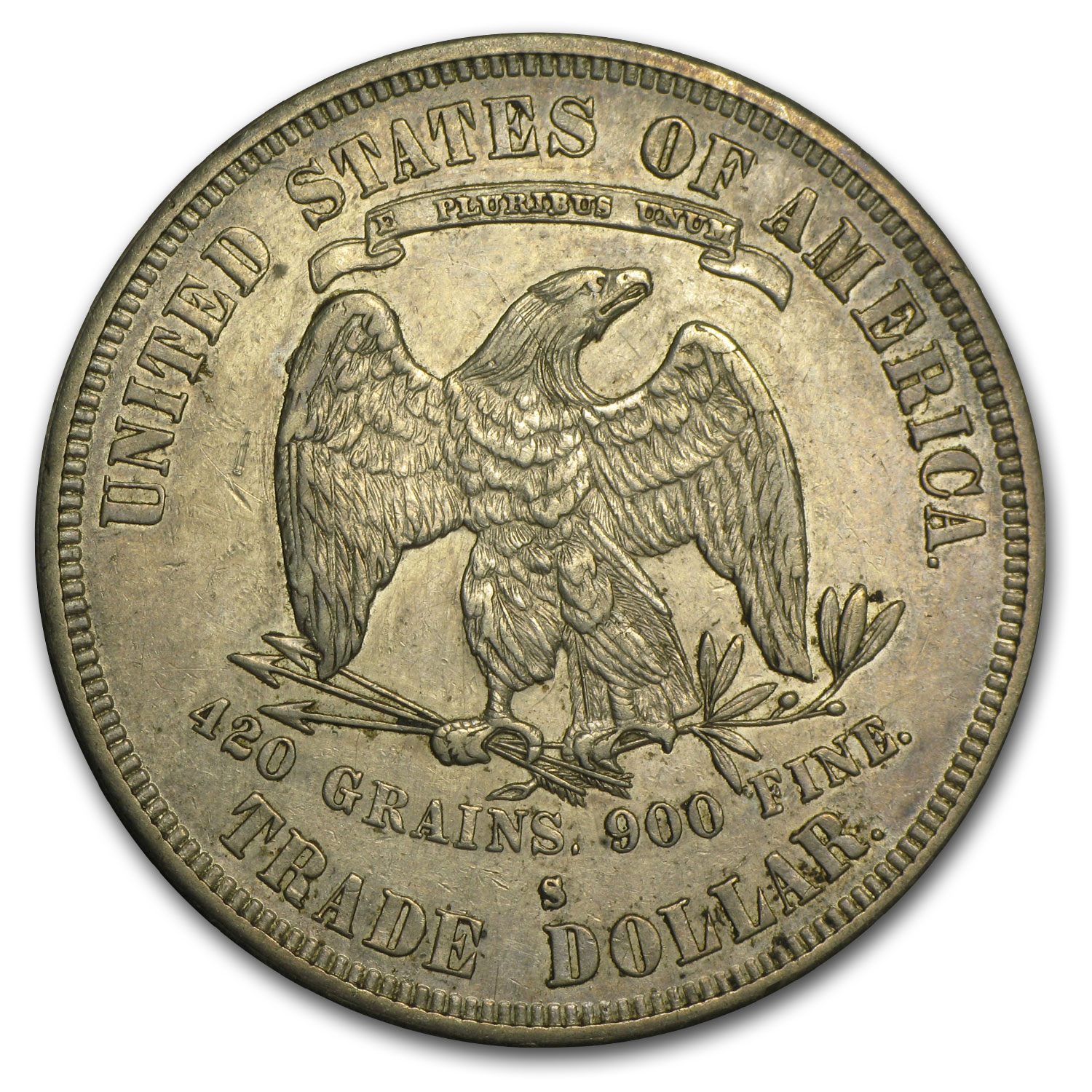 1877-S Trade Dollar - Almost Uncirculated Details - Cleaned