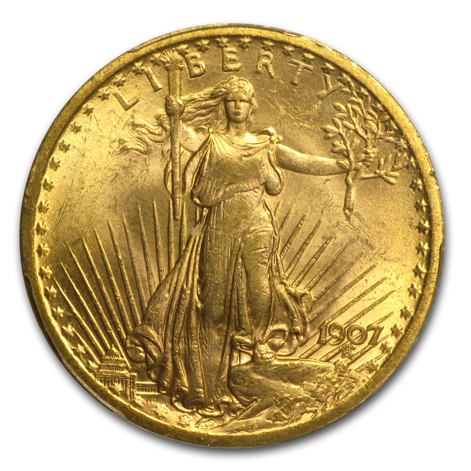 1907 $20 St. Gaudens Gold Double Eagle MS-63+ PCGS