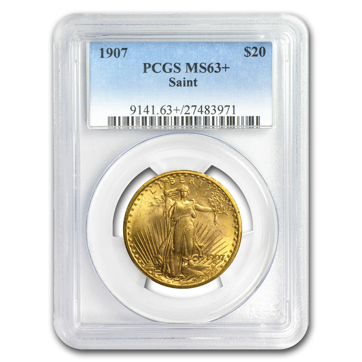 1907 $20 St. Gaudens Gold Double Eagle - MS-63+ PCGS